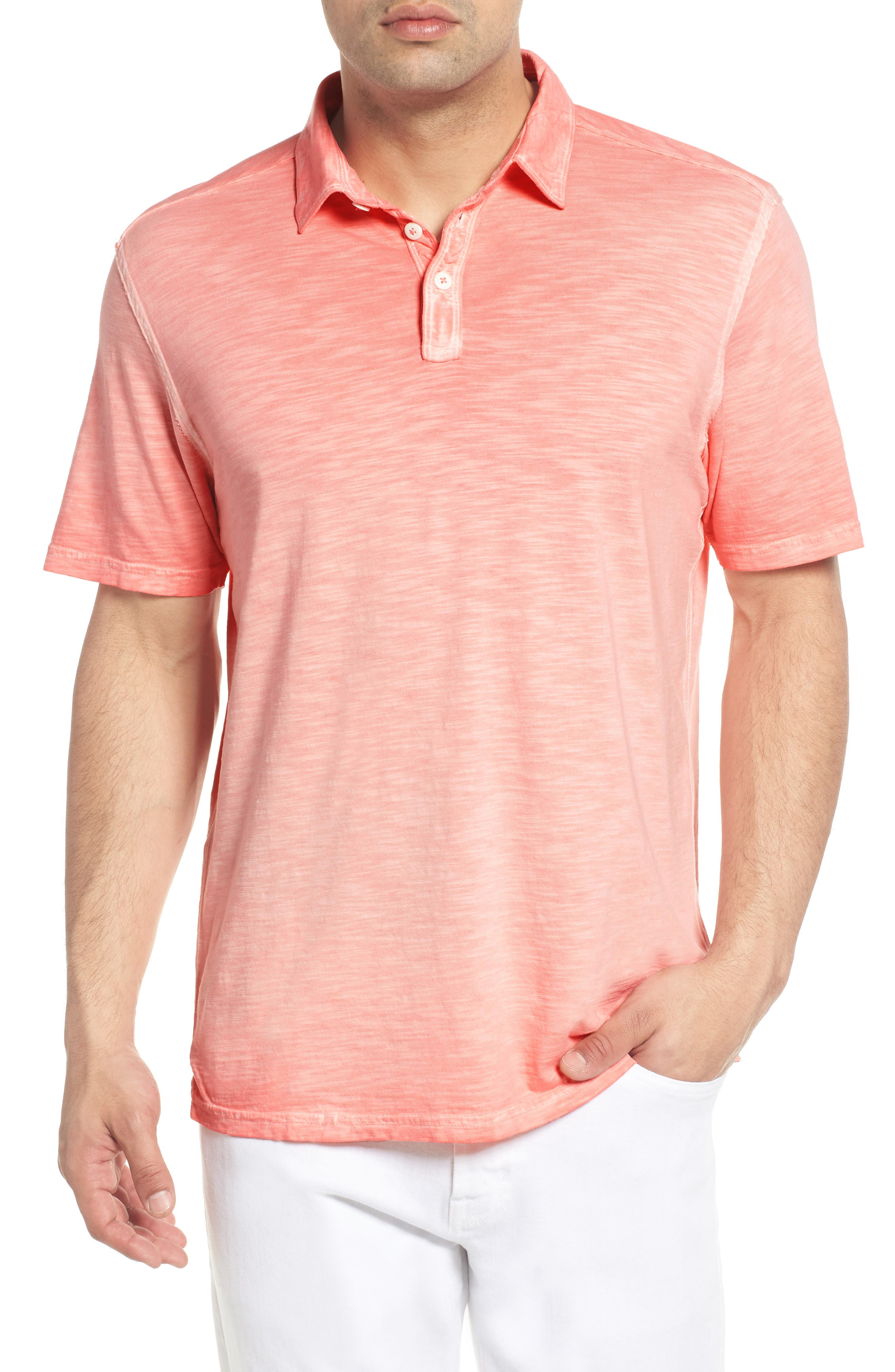 Suncoast Shores Slub Jersey Polo,                         Main,                         color, Electric Coral