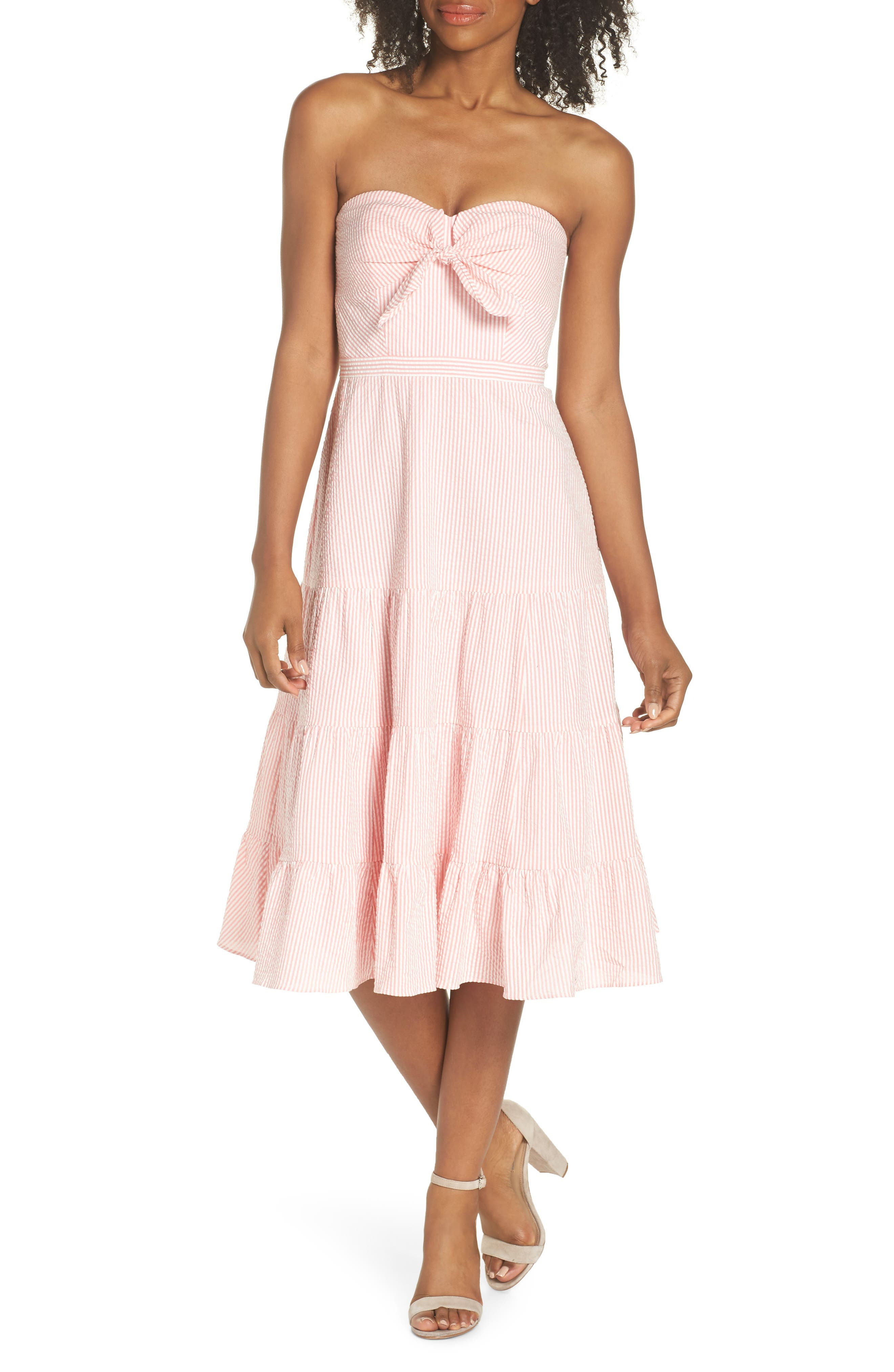 J.Crew Tie Front Strapless Dress,                         Main,                         color, Bright Coral