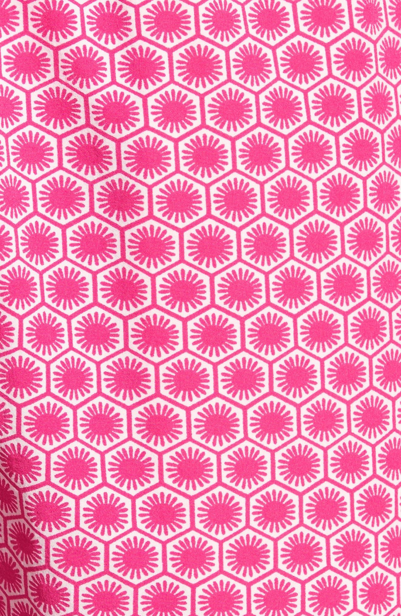 Psycho Bunny Japanese Honeycomb Swim Trunks,                             Alternate thumbnail 5, color,                             Raspberry