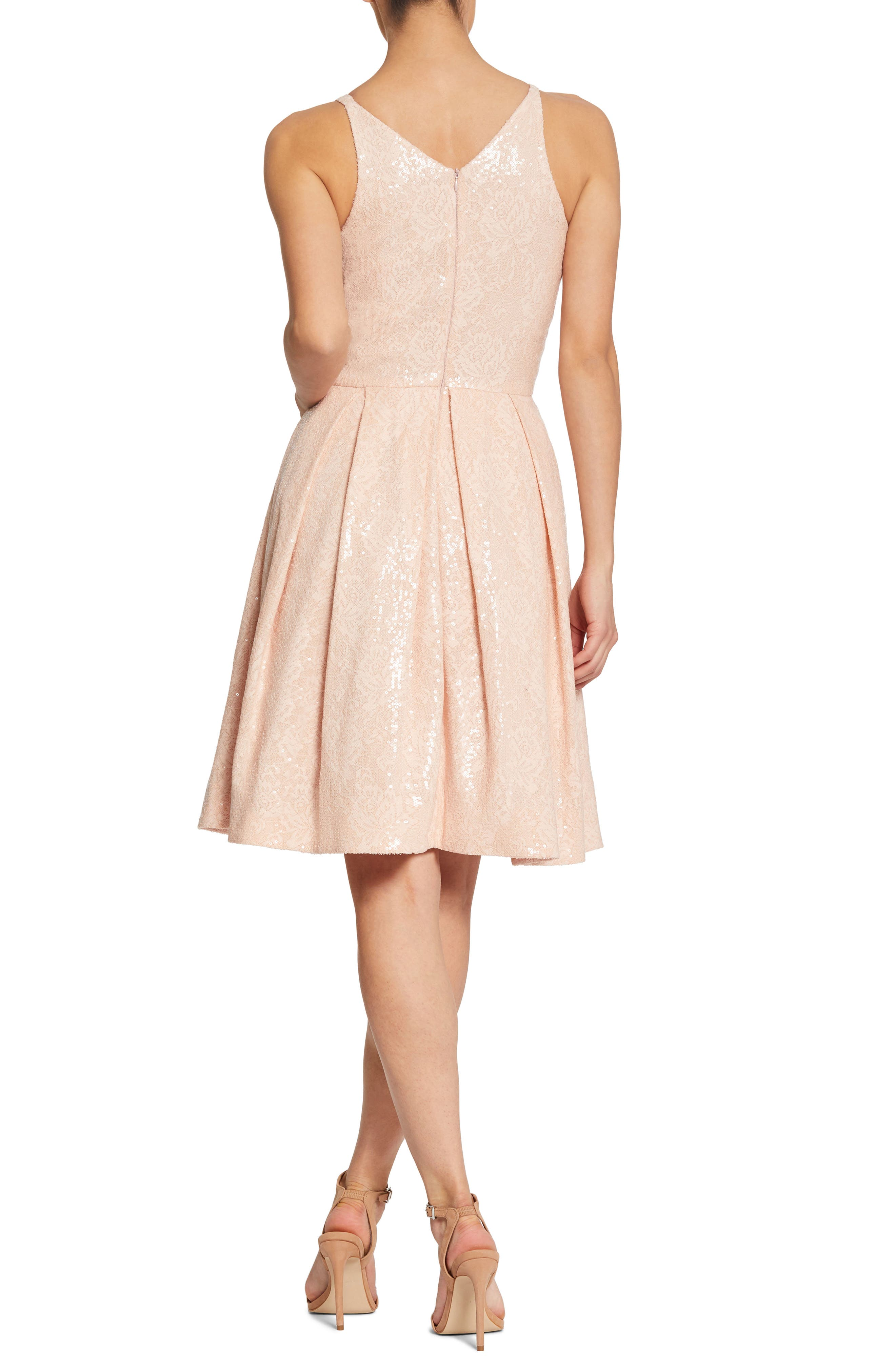 Collette Sequin Fit & Flare Dress,                             Alternate thumbnail 3, color,                             Pink/ Nude