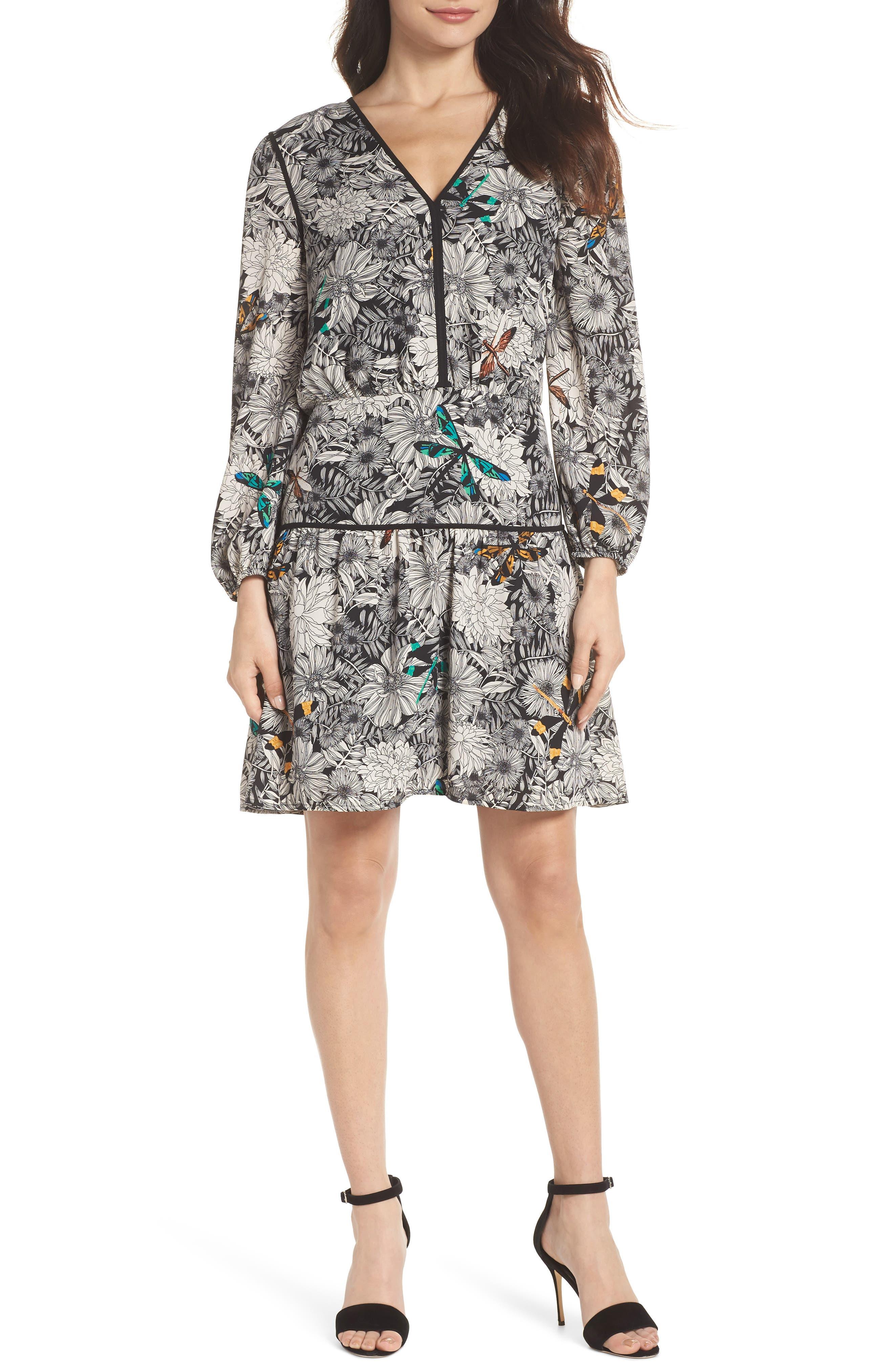 Print Blouson Dress,                             Main thumbnail 1, color,                             Black Multi