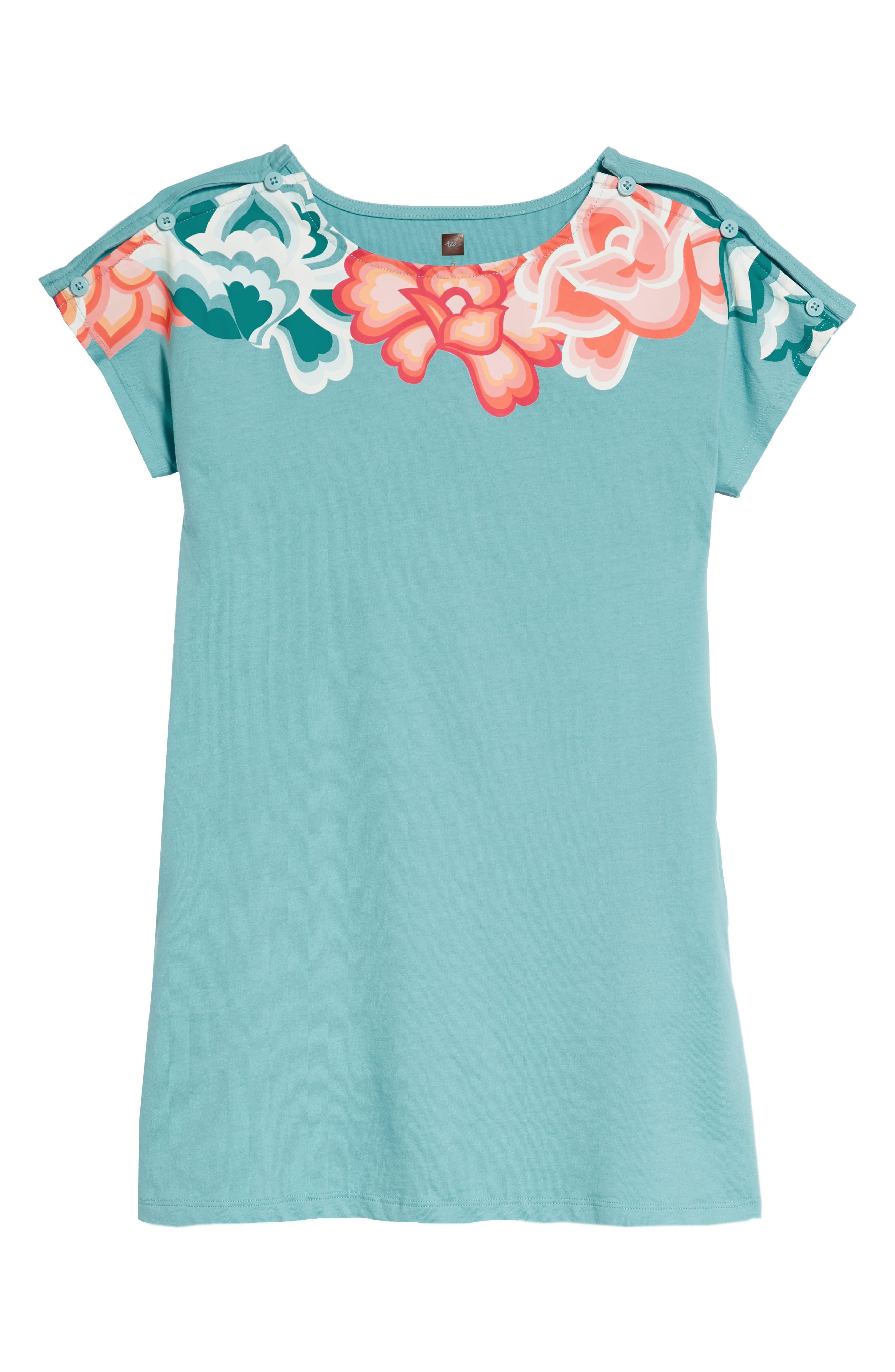 Button Shoulder T-Shirt Dress,                         Main,                         color, Ciel