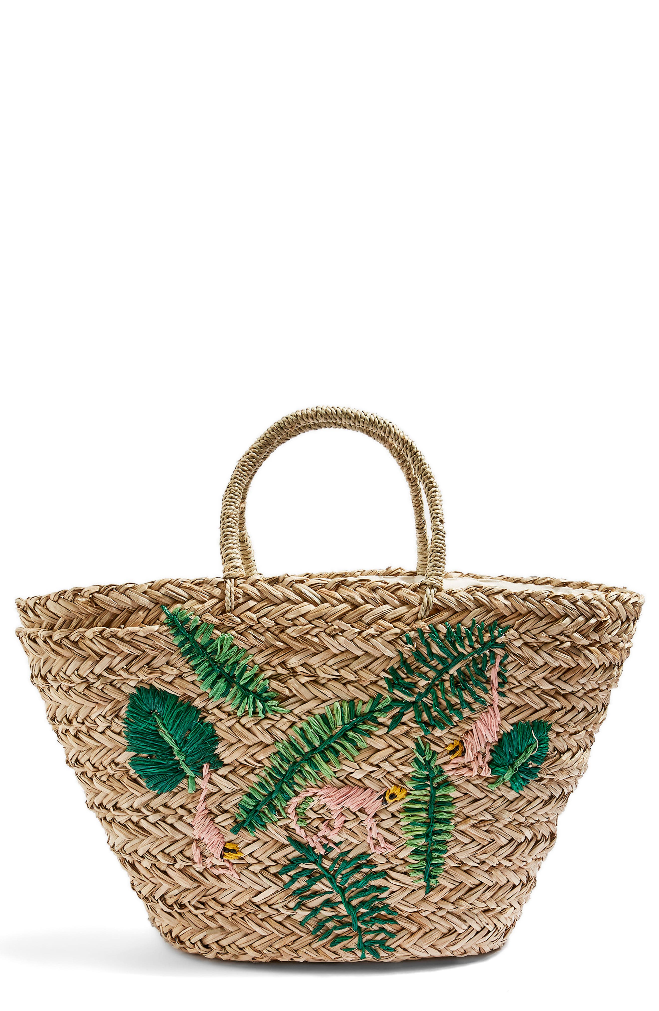 Barrio Monkey Embroidered Straw Tote Bag,                             Main thumbnail 1, color,                             Nude Multi