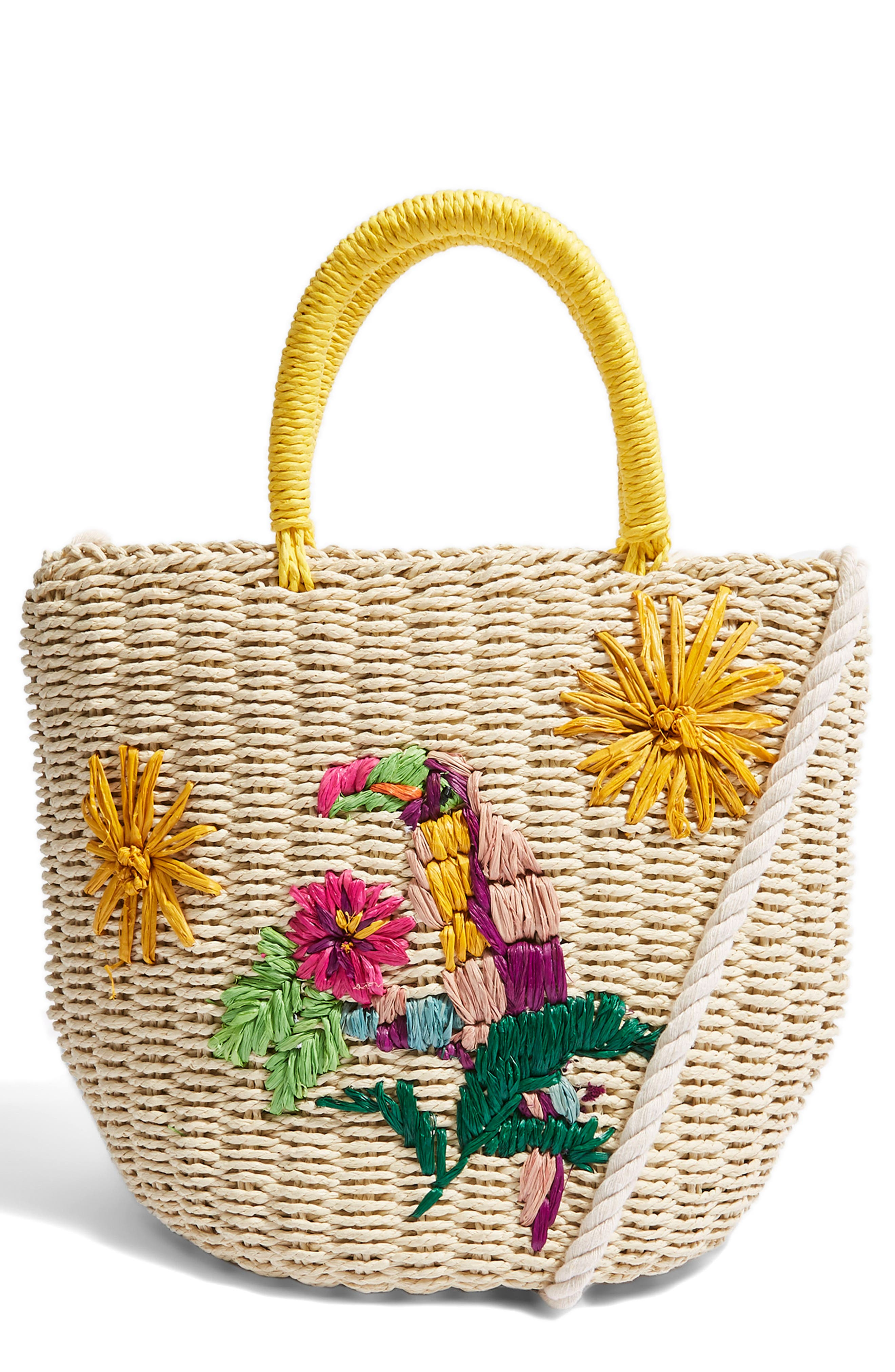 Betsy Toucan Straw Bag,                         Main,                         color, Nude Multi