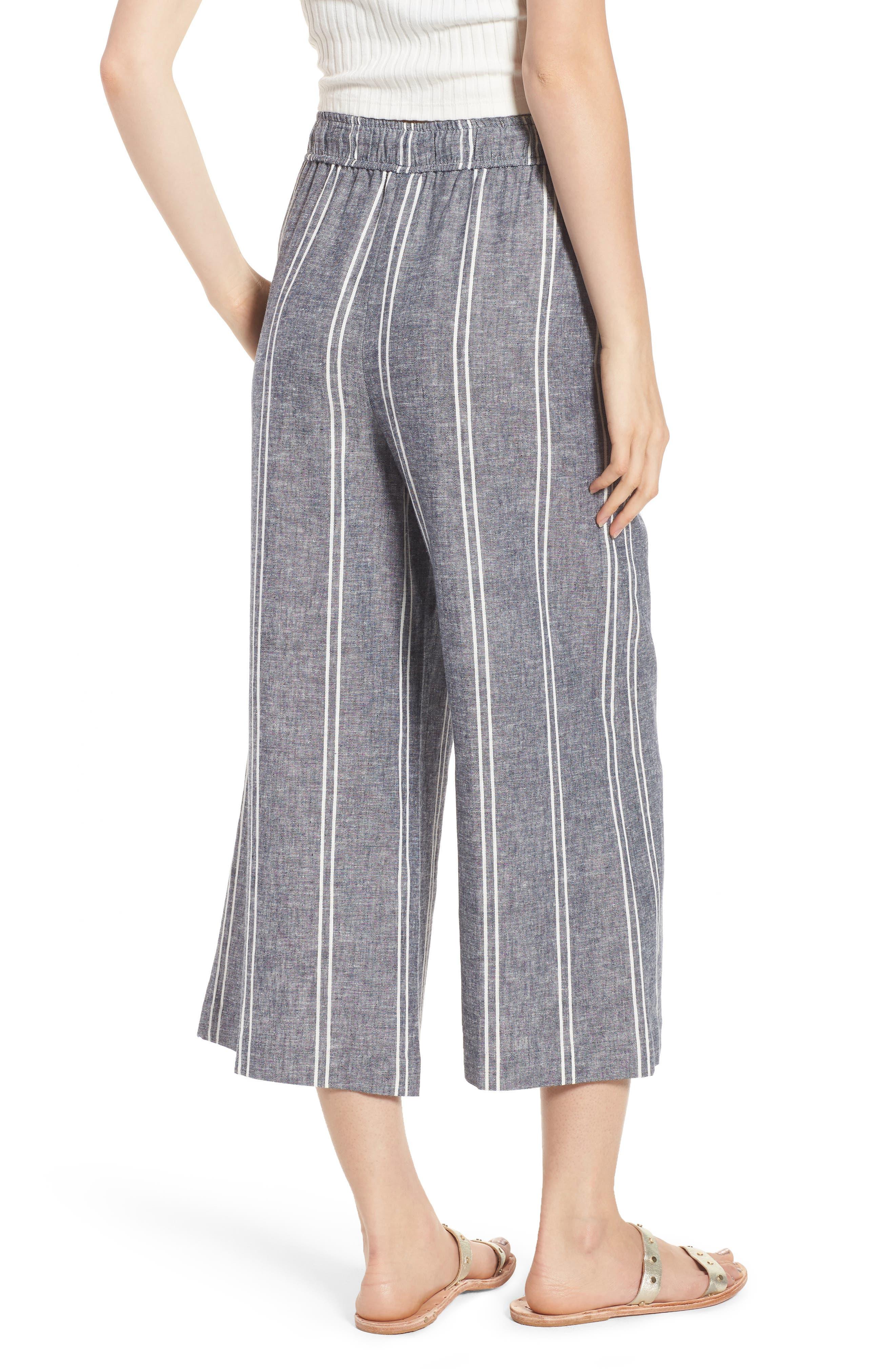Stripe Linen Blend Culottes,                             Alternate thumbnail 2, color,                             Navy Peacoat Chambray Stripe