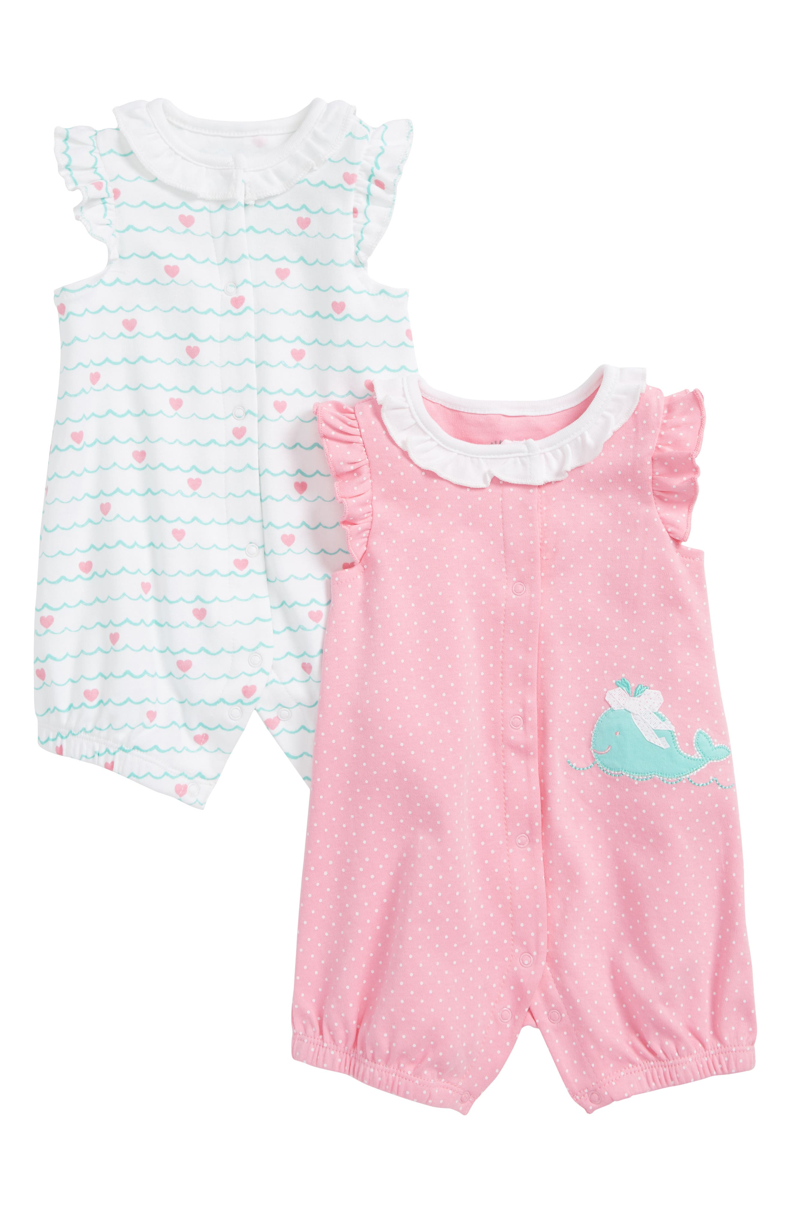 Whale 2-Pack Rompers,                             Main thumbnail 1, color,                             Pink Multi