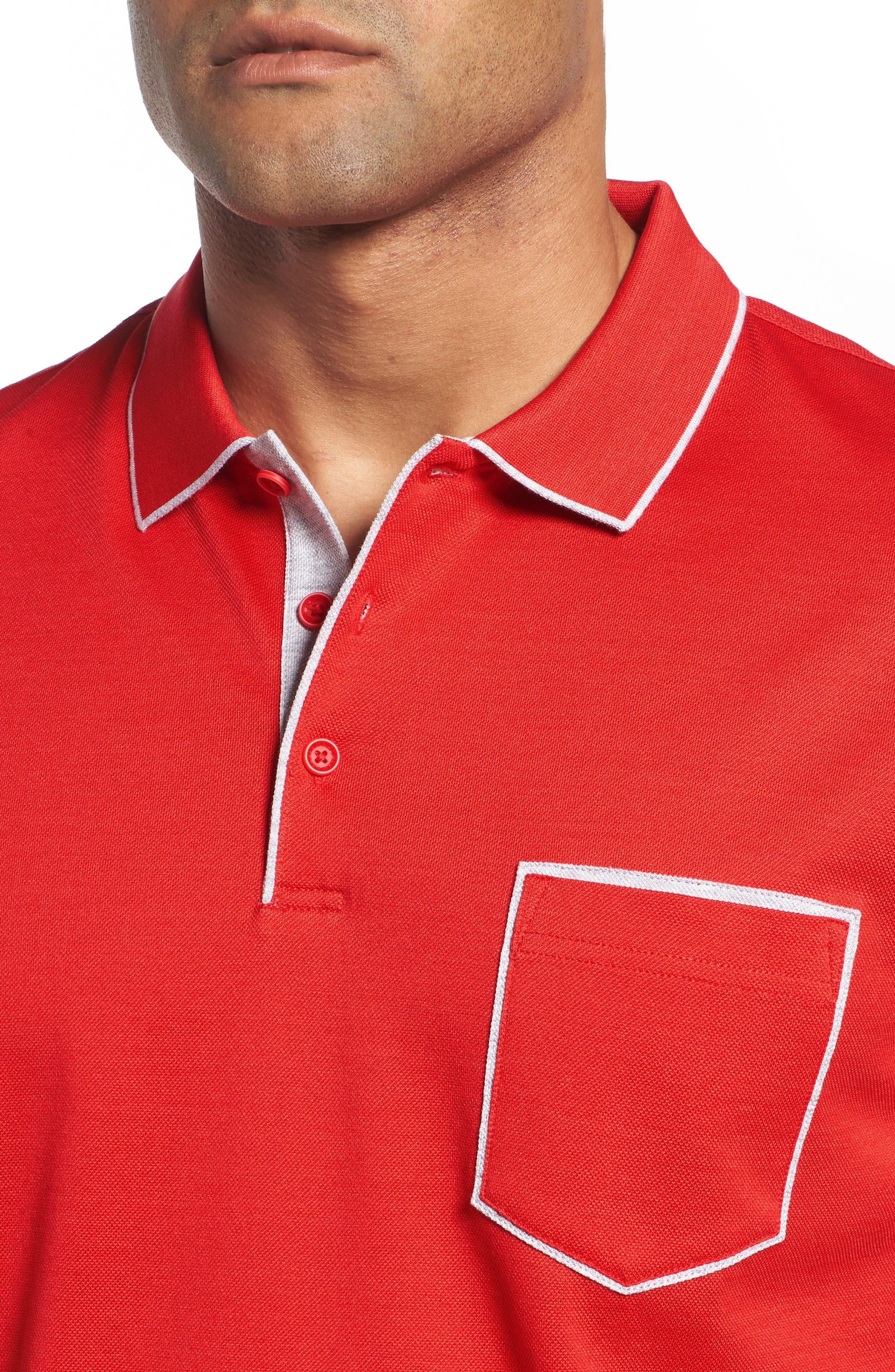 Piqué Knit Polo,                             Alternate thumbnail 4, color,                             Red