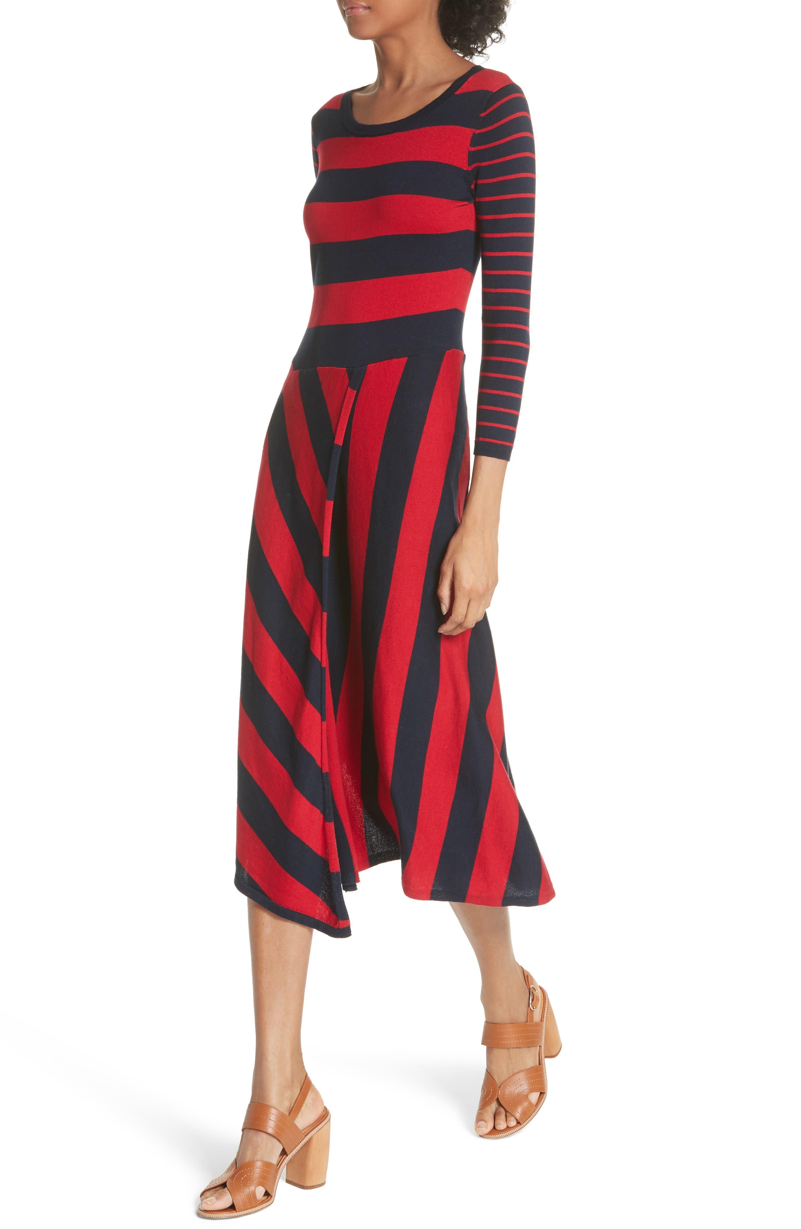Ecedra Asymmetrical Stripe Faux Wrap Dress,                             Alternate thumbnail 3, color,                             Midnight Cherry