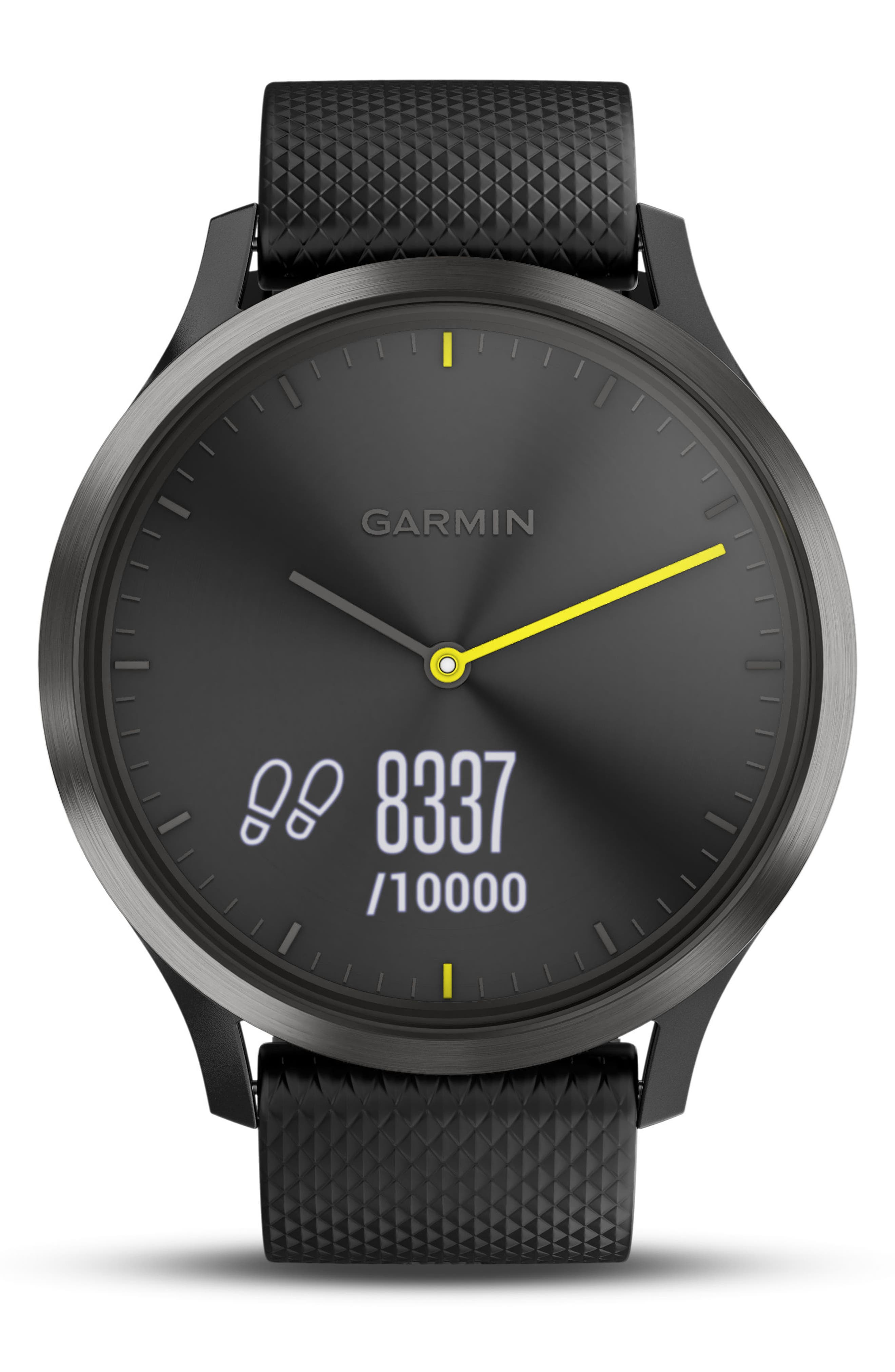 Vivomove HR Large Sport Hybrid Smart Watch,                             Alternate thumbnail 4, color,                             Black/ Black/ Black