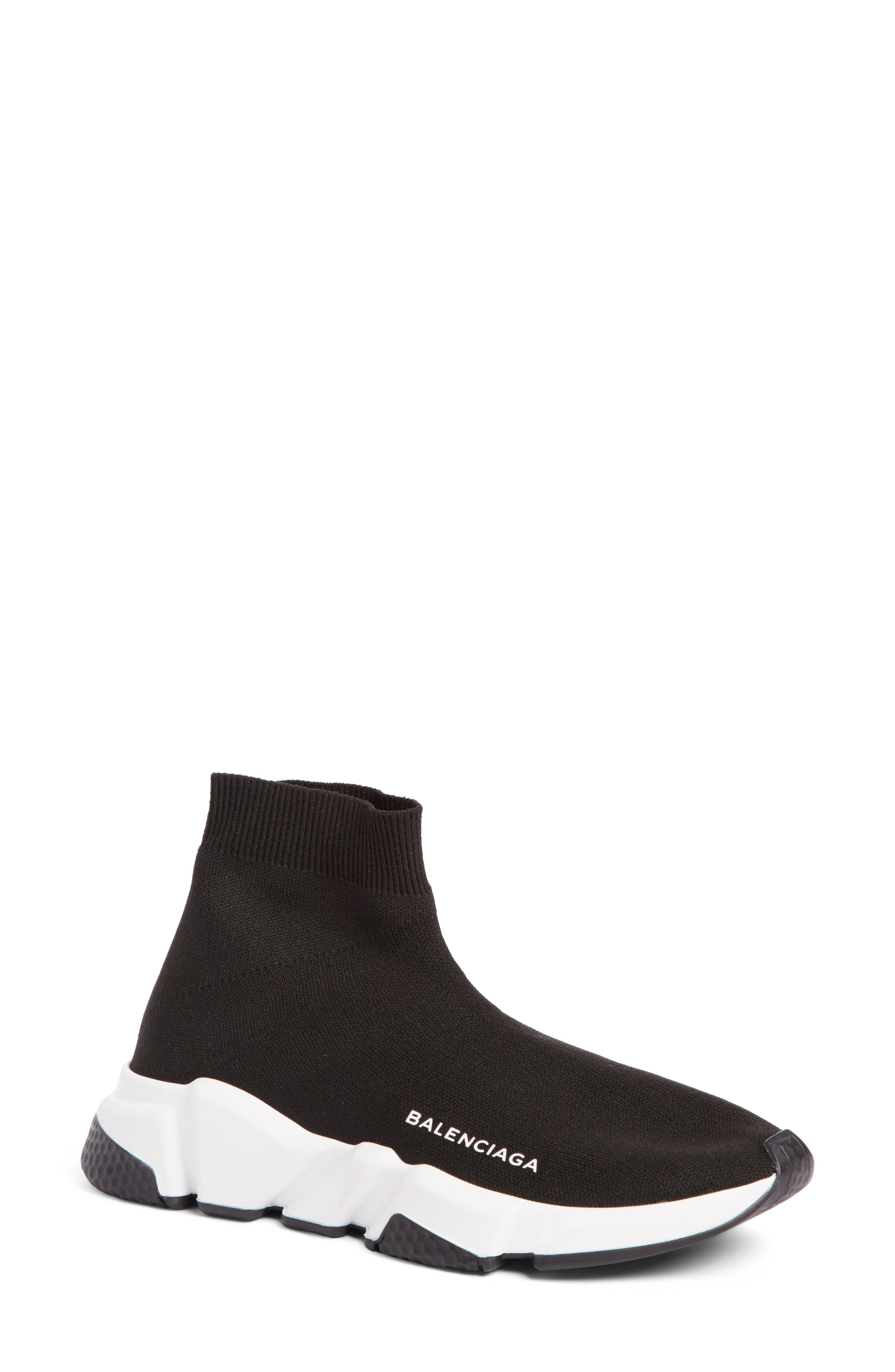 Balenciaga Speed Mid Sneaker (Women). BLACK; WHITE