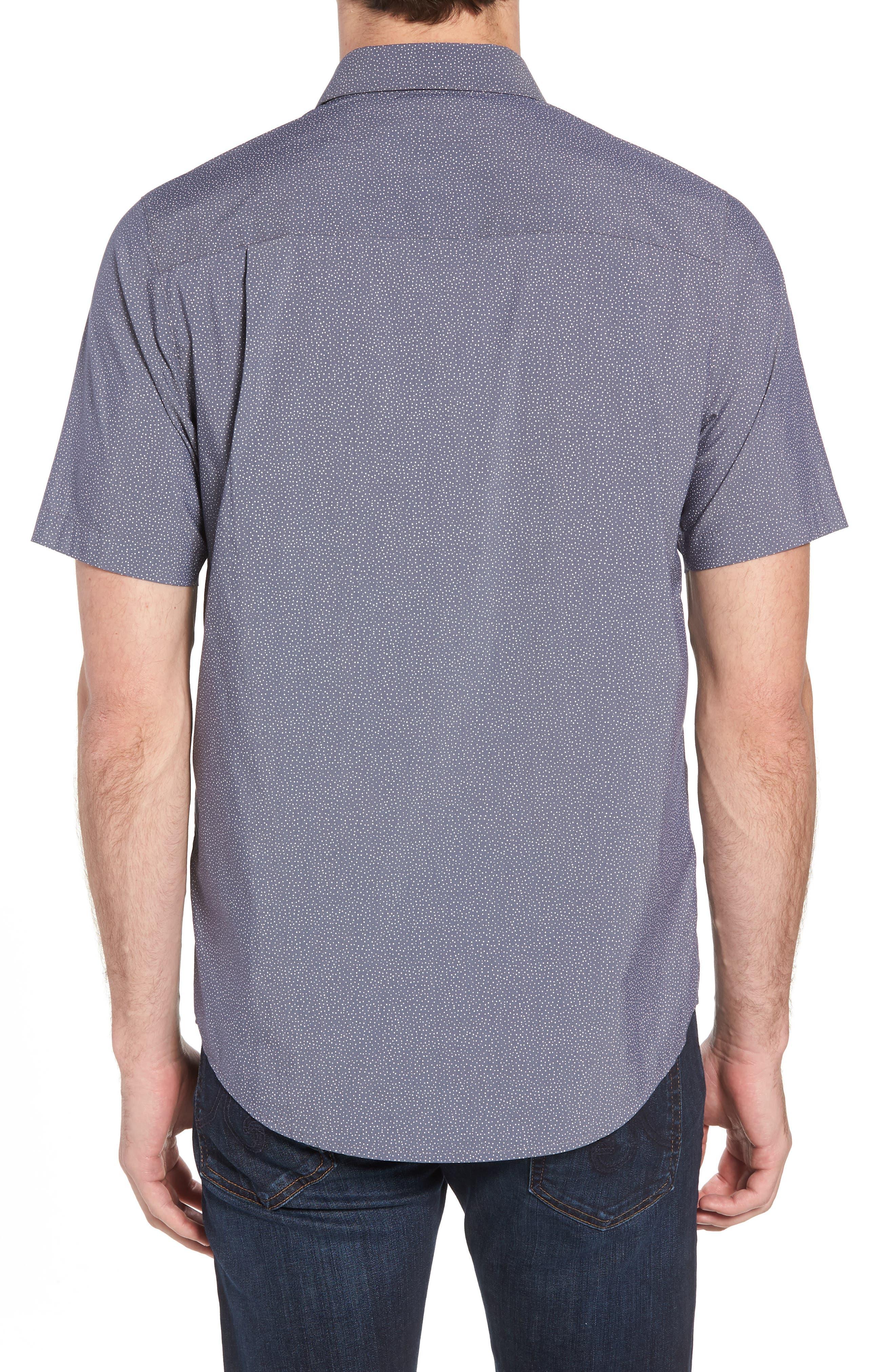 Particles Spot Print Sport Shirt,                             Alternate thumbnail 3, color,                             Blue Nights