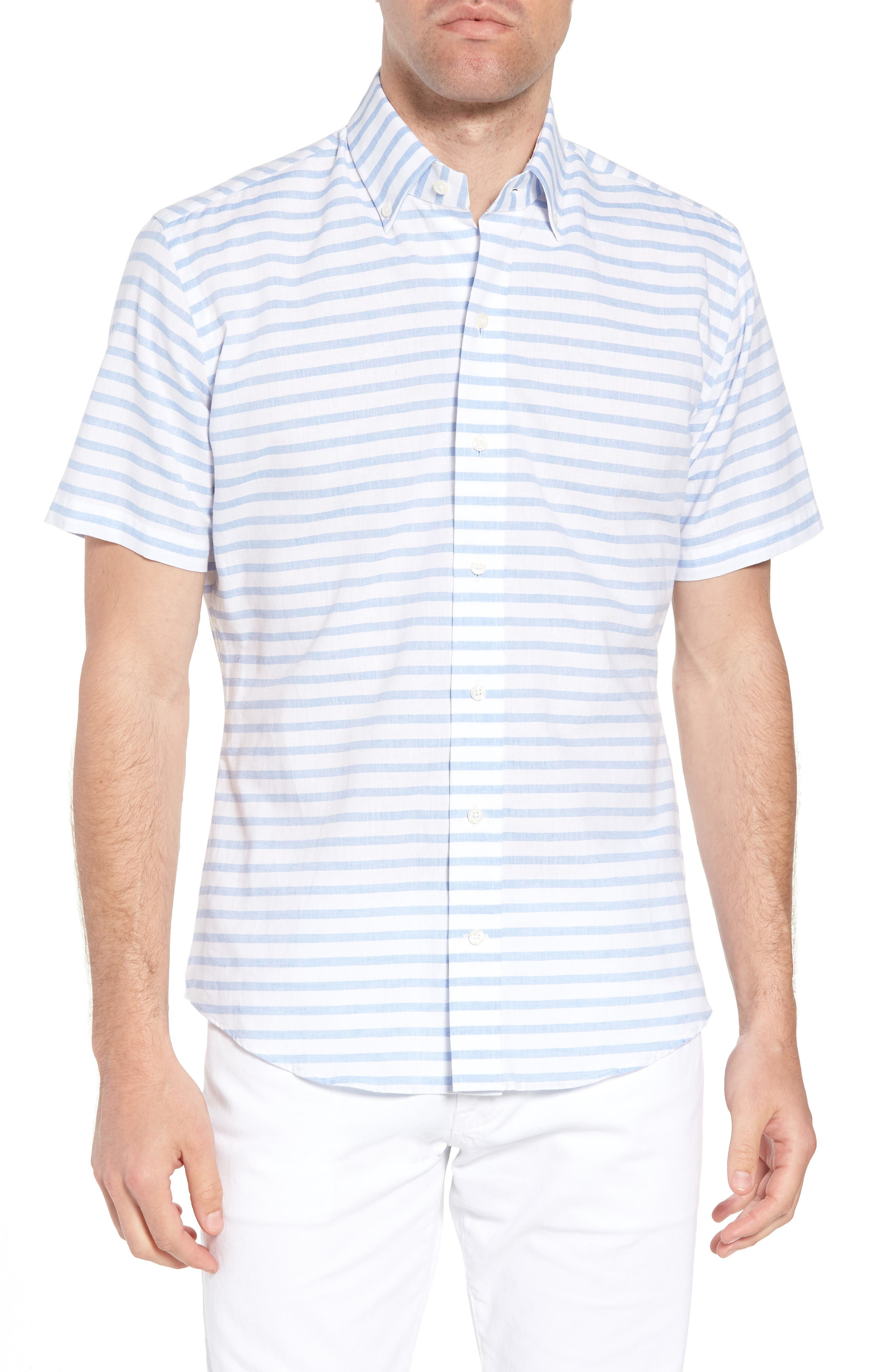 Ledbury Gunnin Stripe Classic Fit Cotton & Linen Sport Shirt