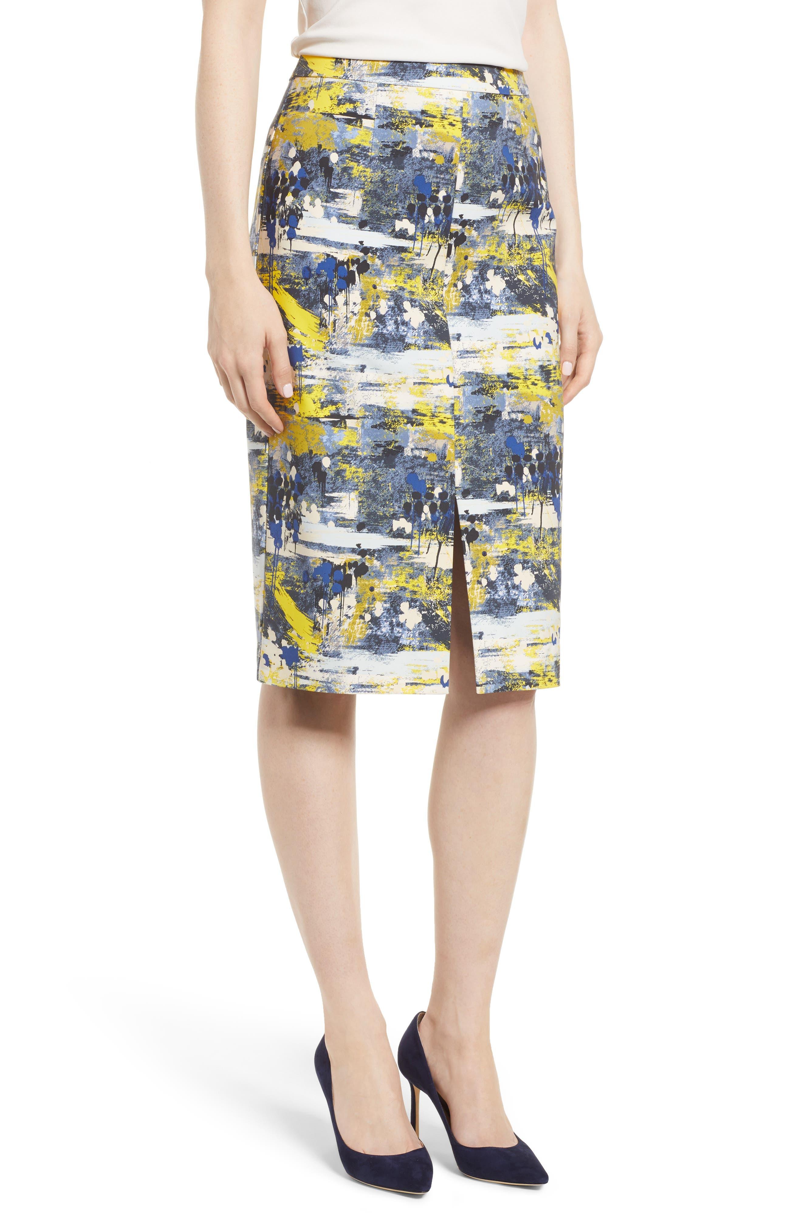 High Waist Skirt,                             Main thumbnail 1, color,                             Blue Dot Drip Print
