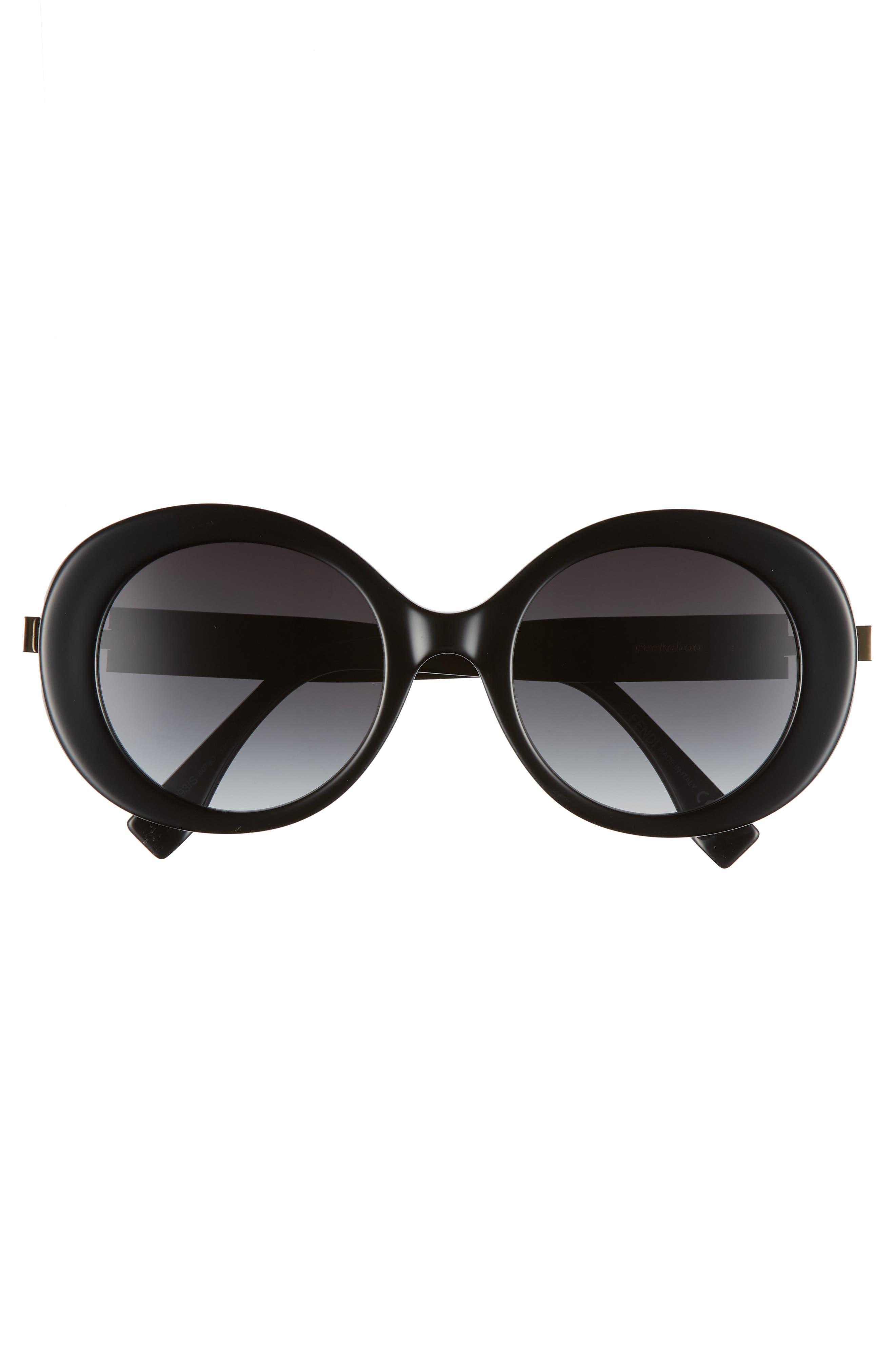 52mm Round Sunglasses,                             Alternate thumbnail 3, color,                             Black