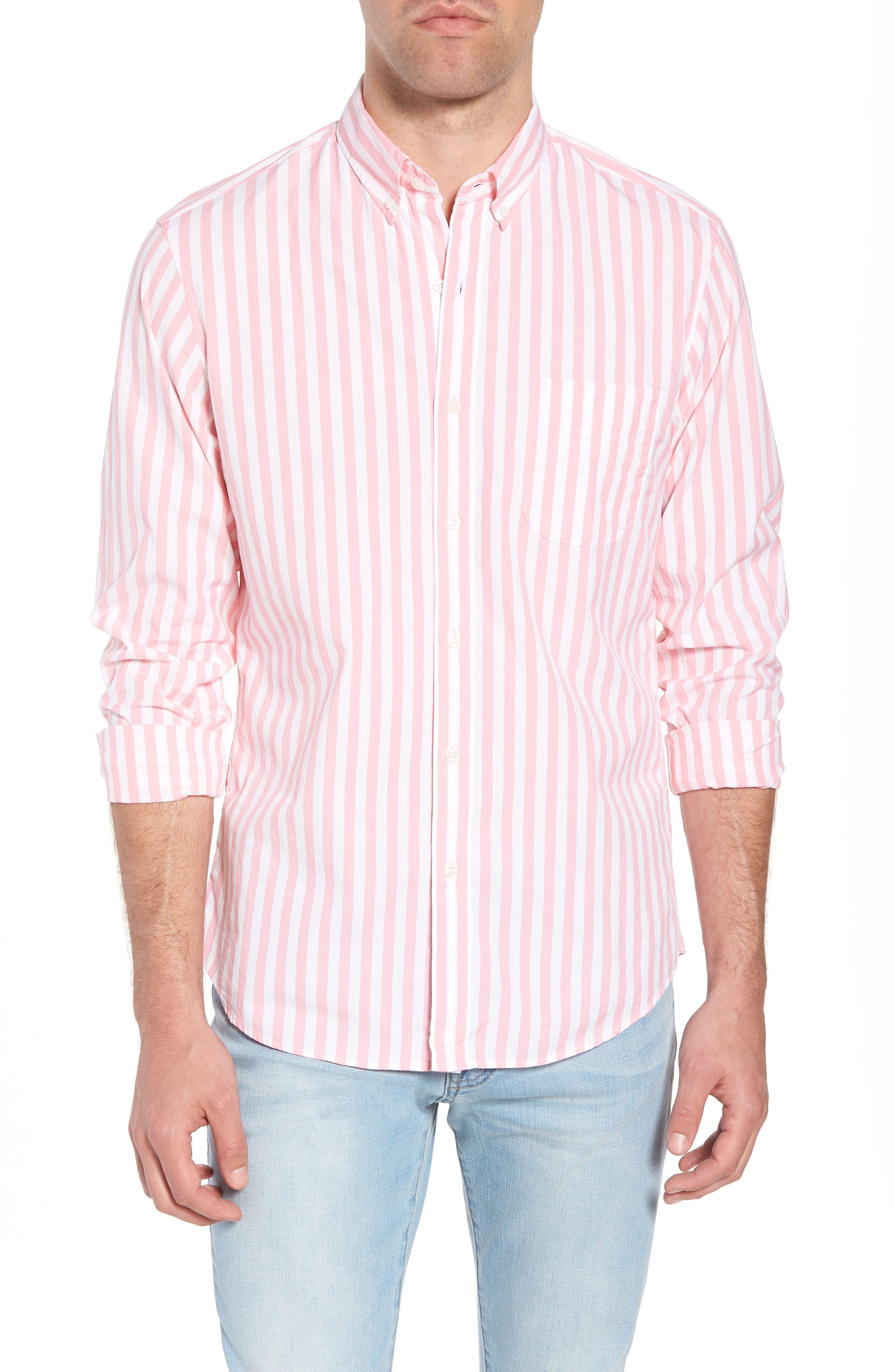 Slim Fit Stretch Secret Wash Stripe Sport Shirt,                             Main thumbnail 1, color,                             Azalea