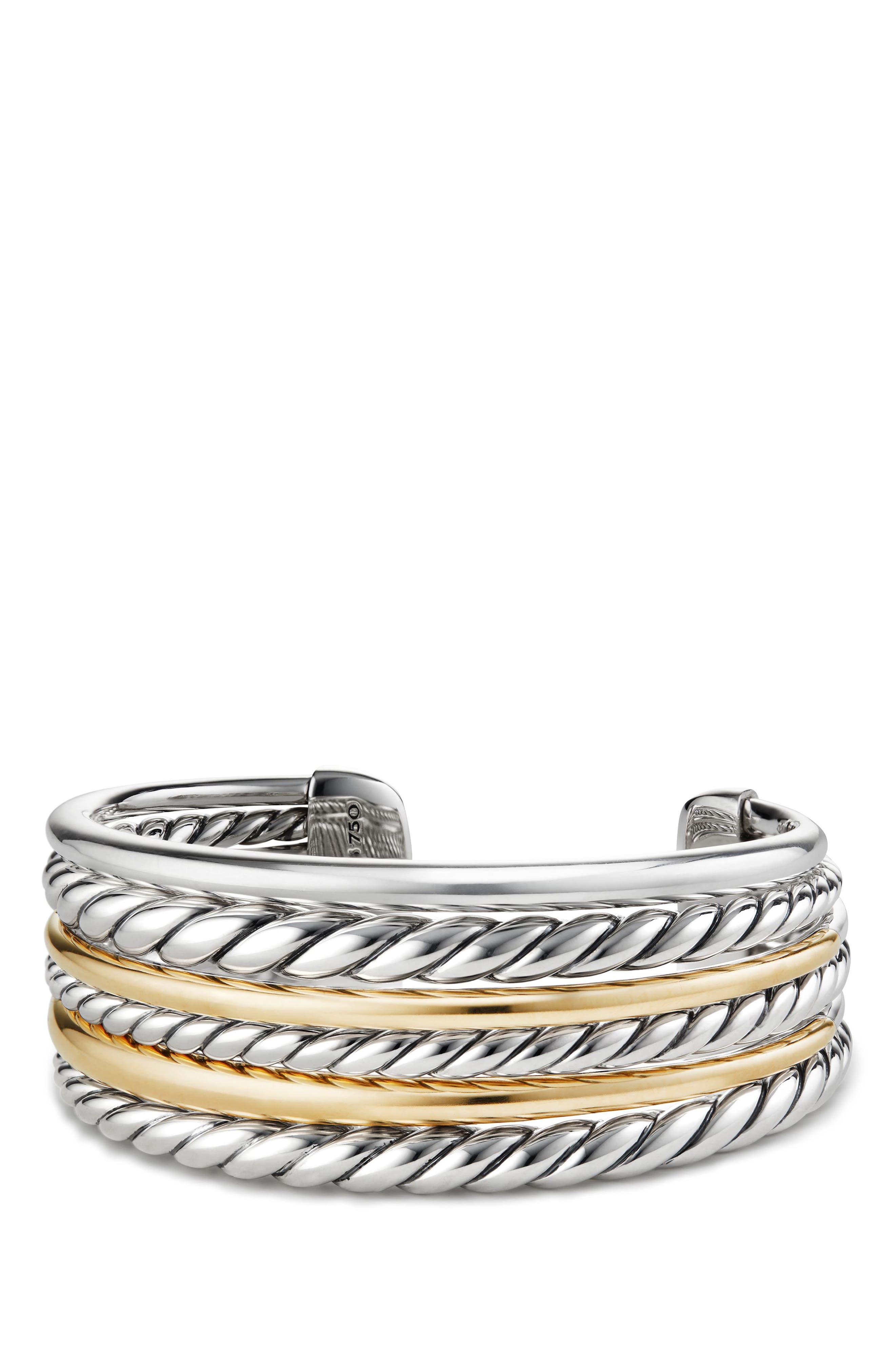 Pure Form<sup>®</sup> Cuff Bracelet,                         Main,                         color, Gold/ Silver