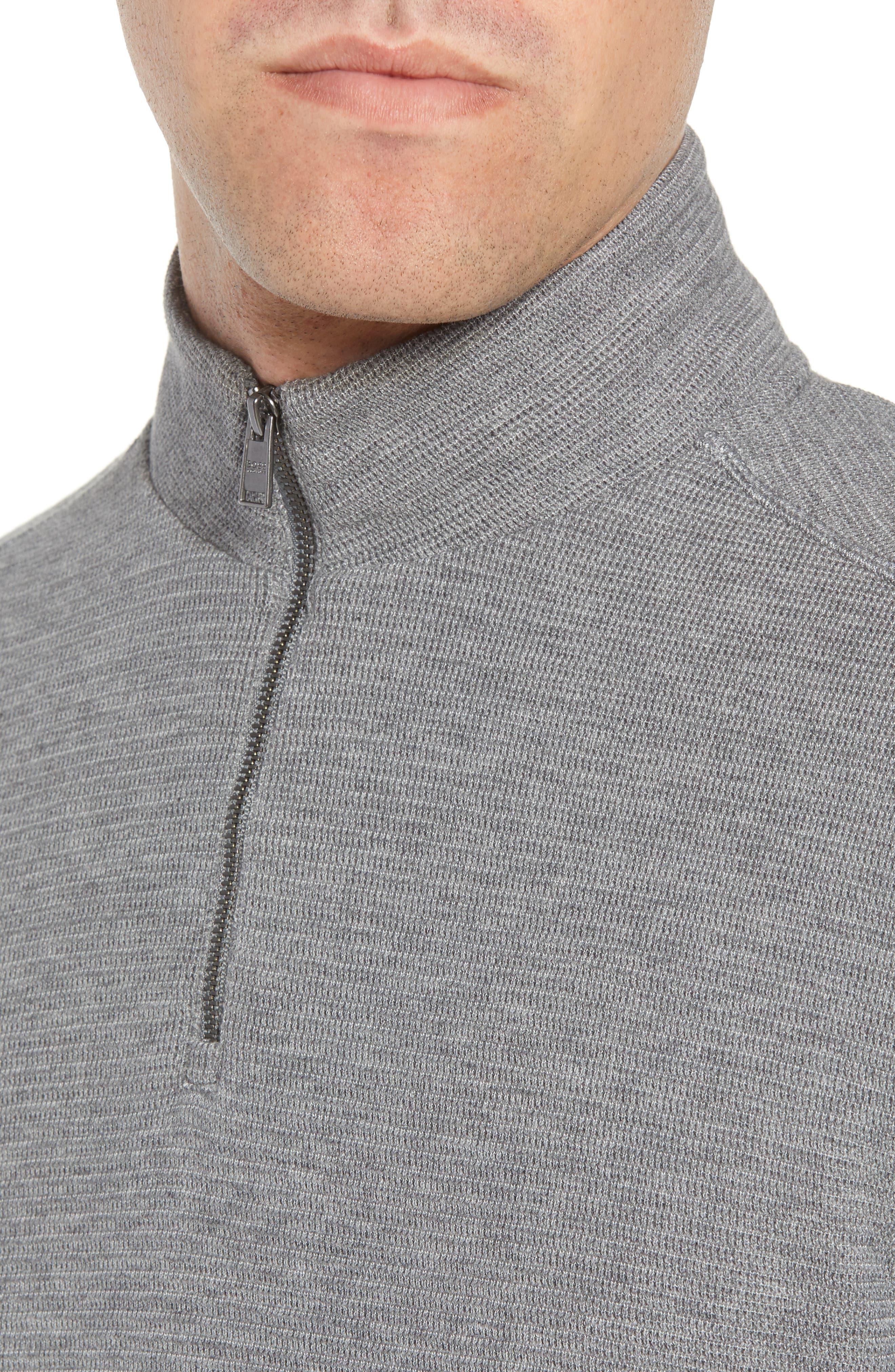 Hugo Boss Regular Fit Sidney Quarter Zip Pullover,                             Alternate thumbnail 4, color,                             Grey