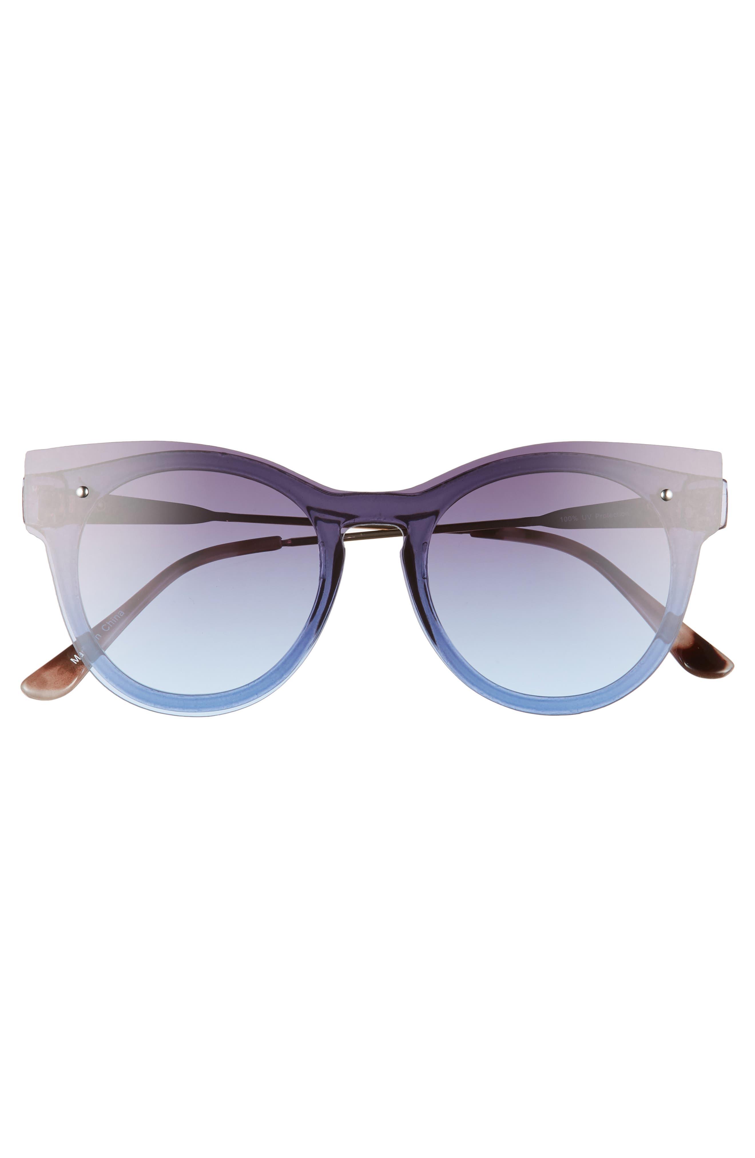 51mm Flat Cat Eye Sunglasses,                             Alternate thumbnail 3, color,                             Gold/ Blue