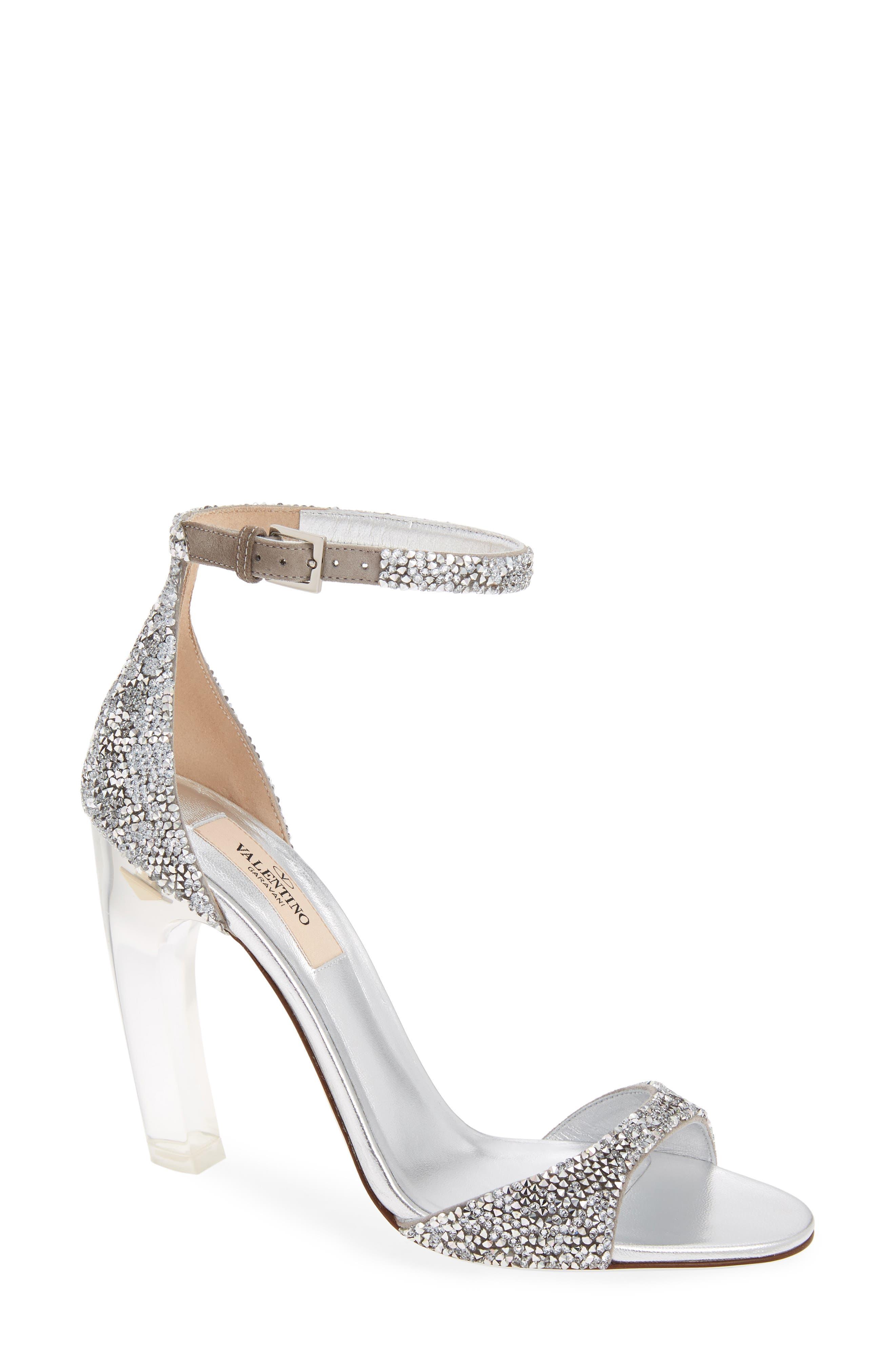 GARAVANI Crystal Embellished Clear Heel Sandal,                             Main thumbnail 1, color,                             Silver