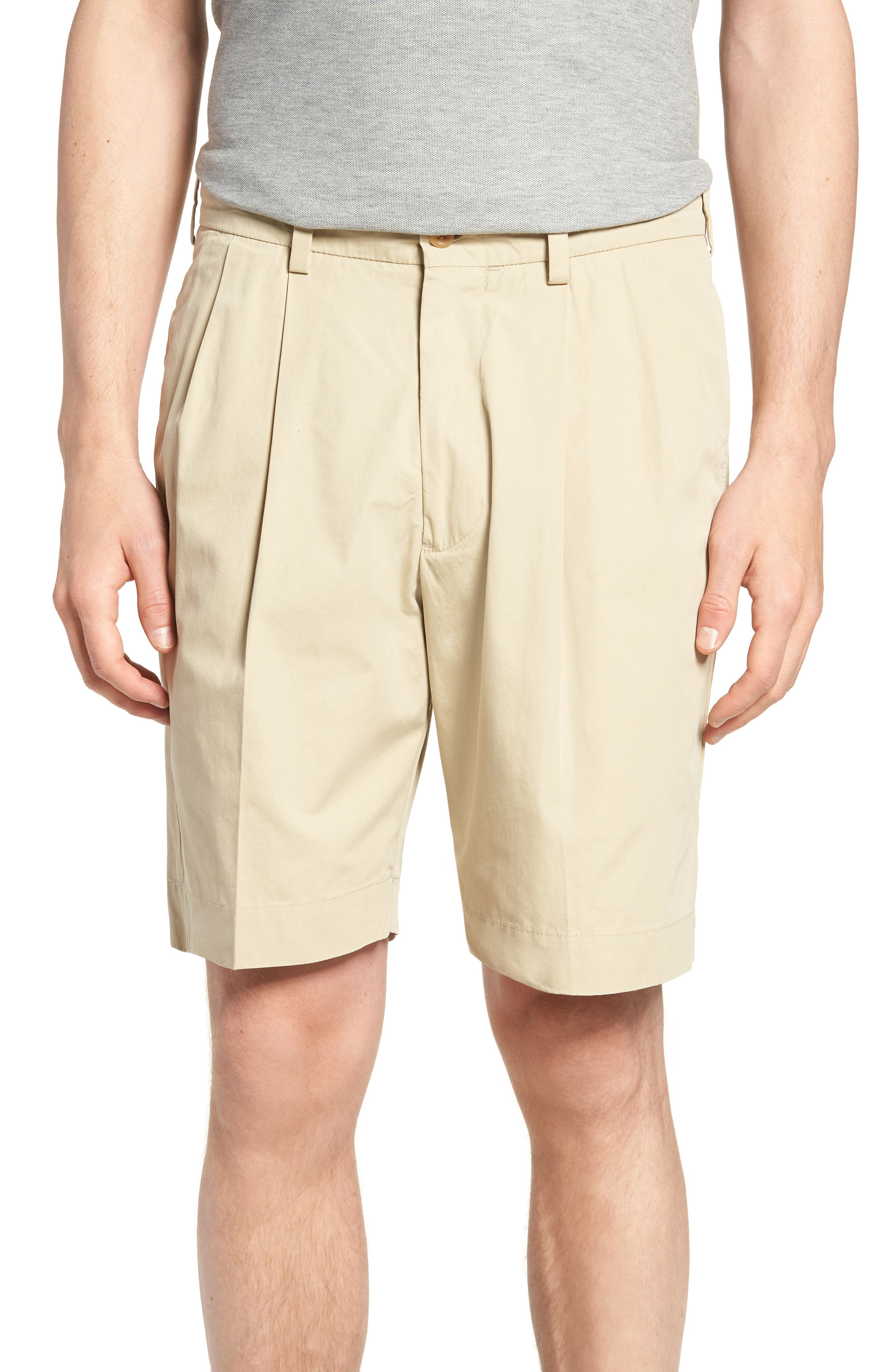 M2 Classic Fit Pleated Tropical Cotton Poplin Shorts,                             Main thumbnail 1, color,                             Khaki