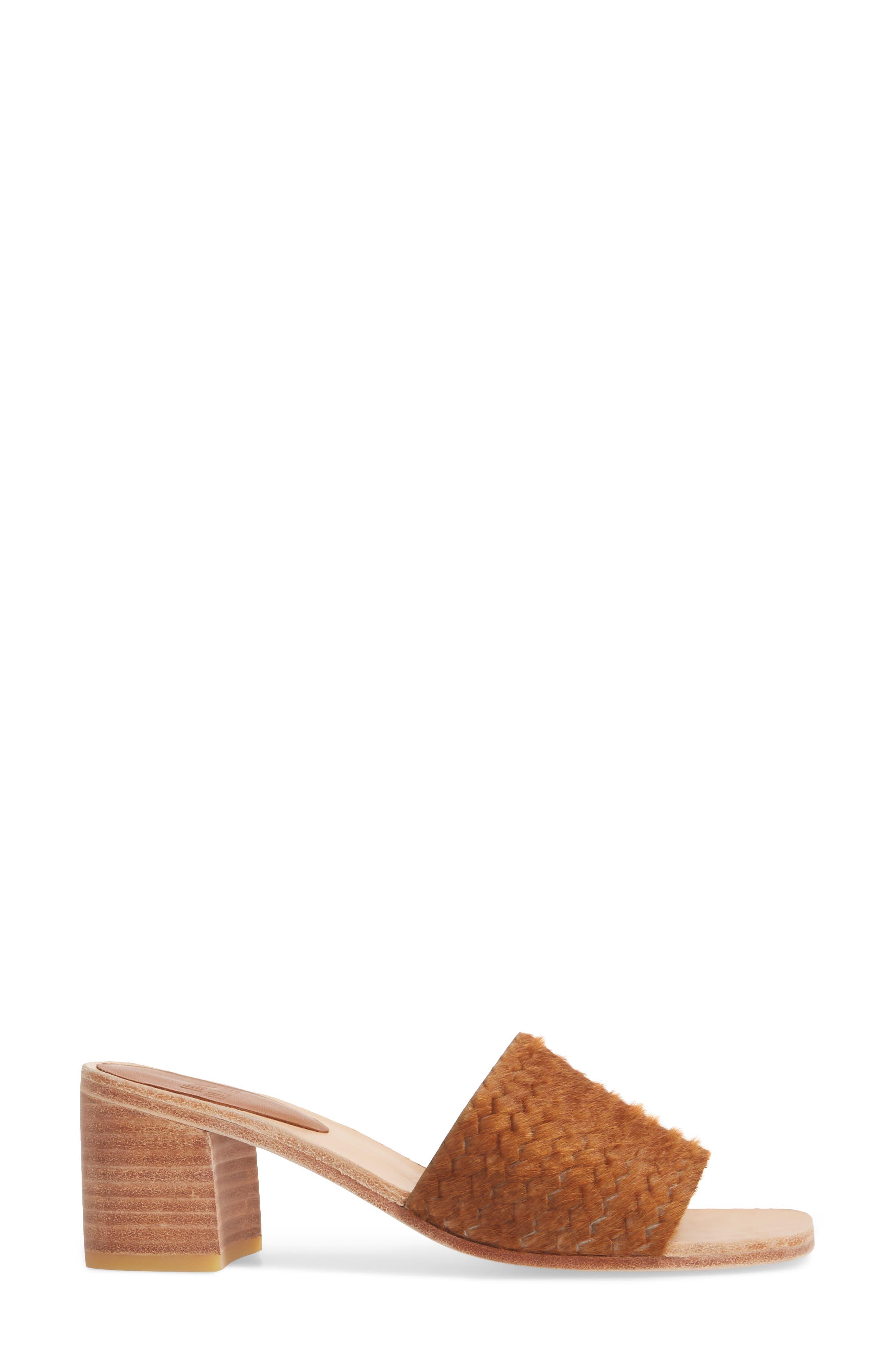 Genuine Calf Hair Sandal,                             Alternate thumbnail 3, color,                             Caramel Braided Calf Hair