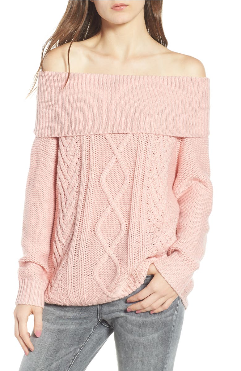 Off Shore Cable Knit Sweater,                         Main,                         color, Dusty Rose