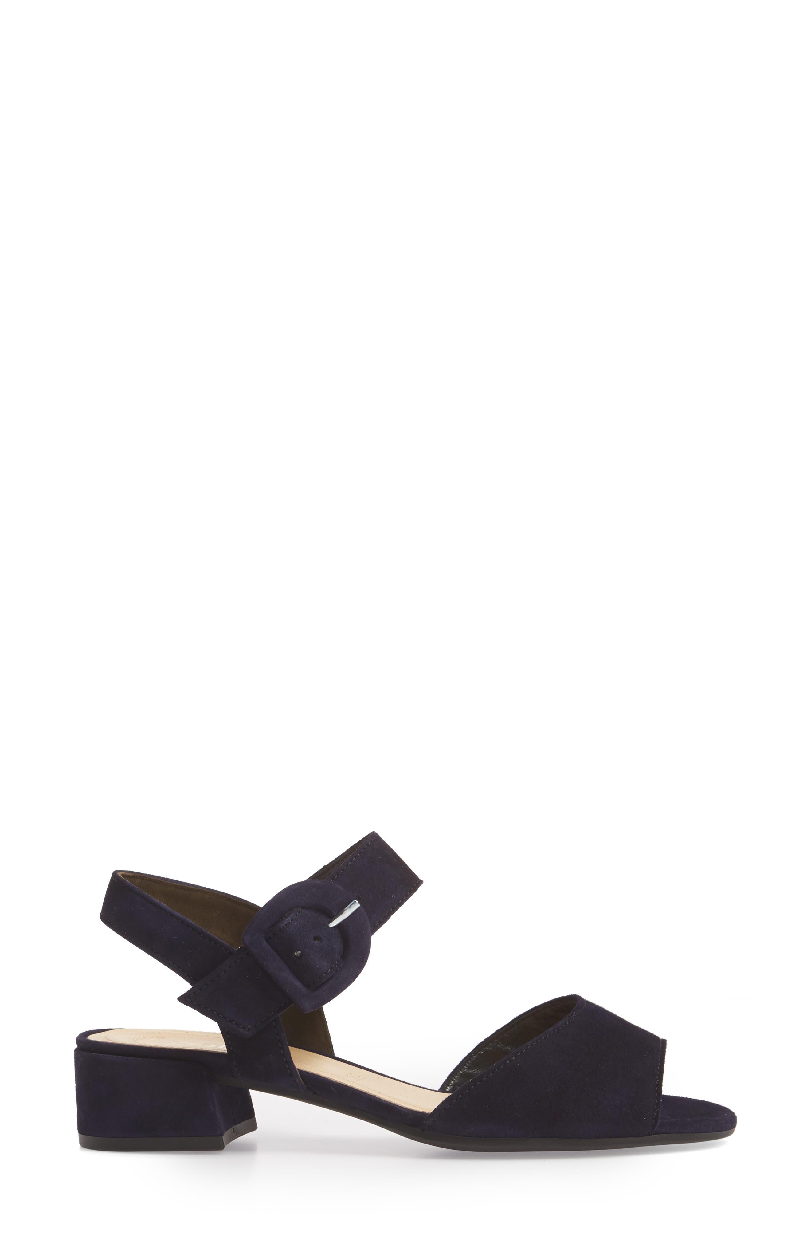 Block Heel Sandal,                             Alternate thumbnail 3, color,                             Navy Suede