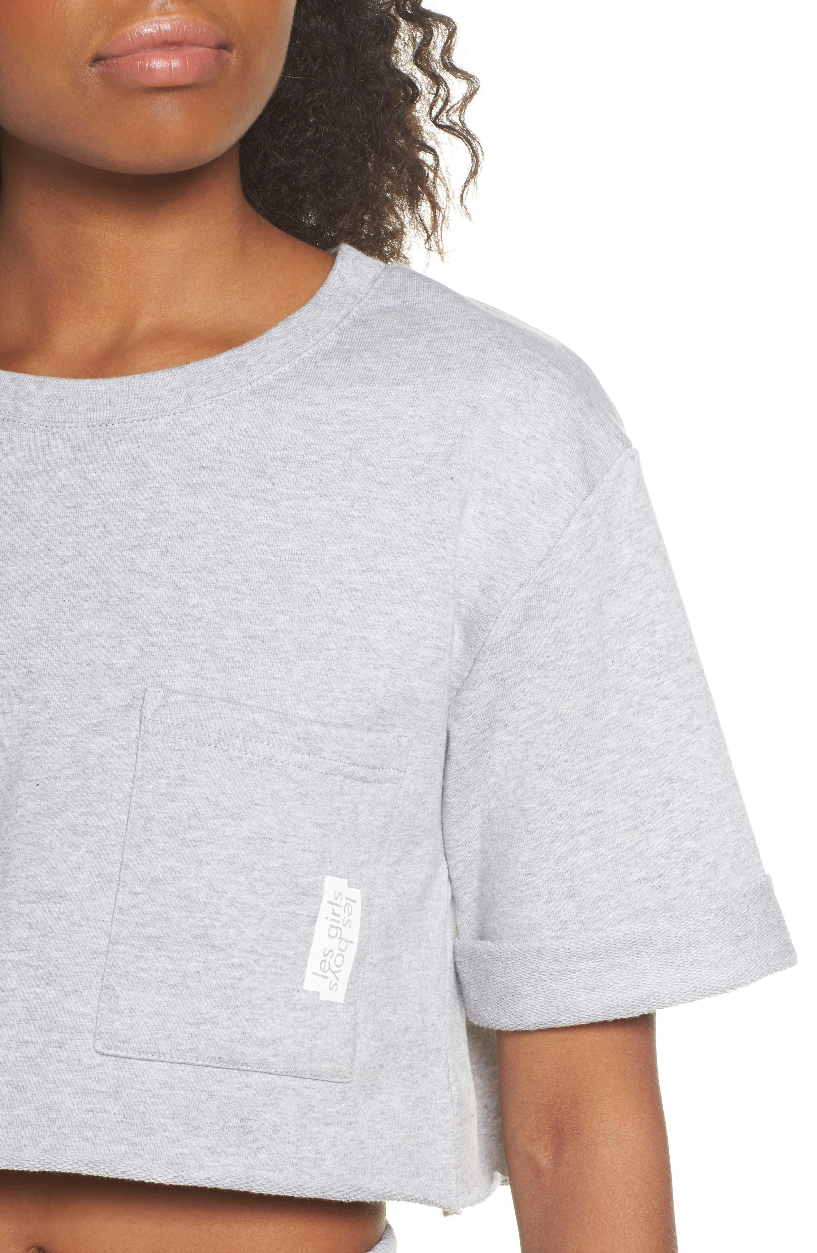 French Terry Crop Sweatshirt,                             Alternate thumbnail 6, color,                             Light Grey Marl