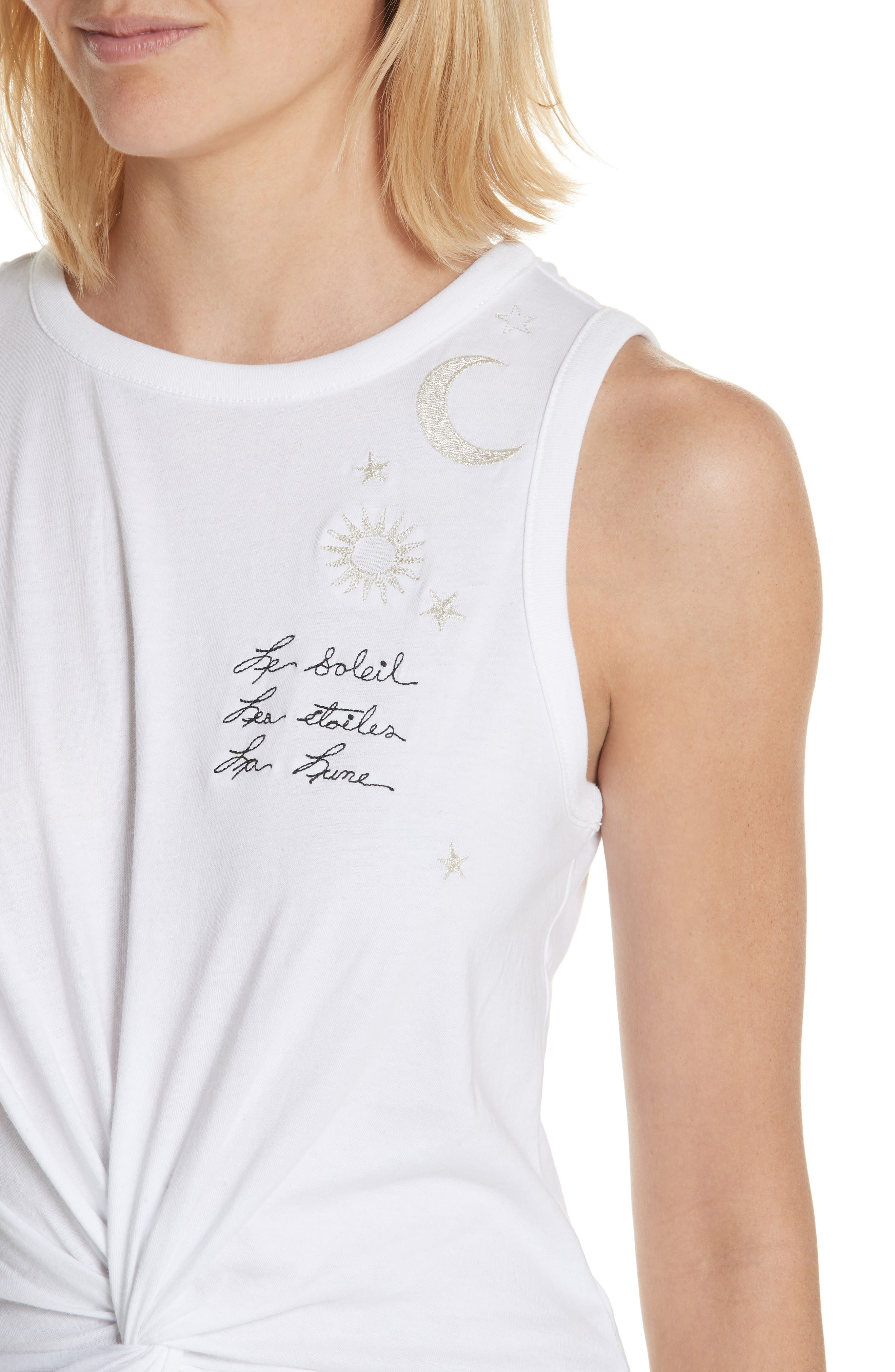 Knot Front Embroidered Tank,                             Alternate thumbnail 4, color,                             White