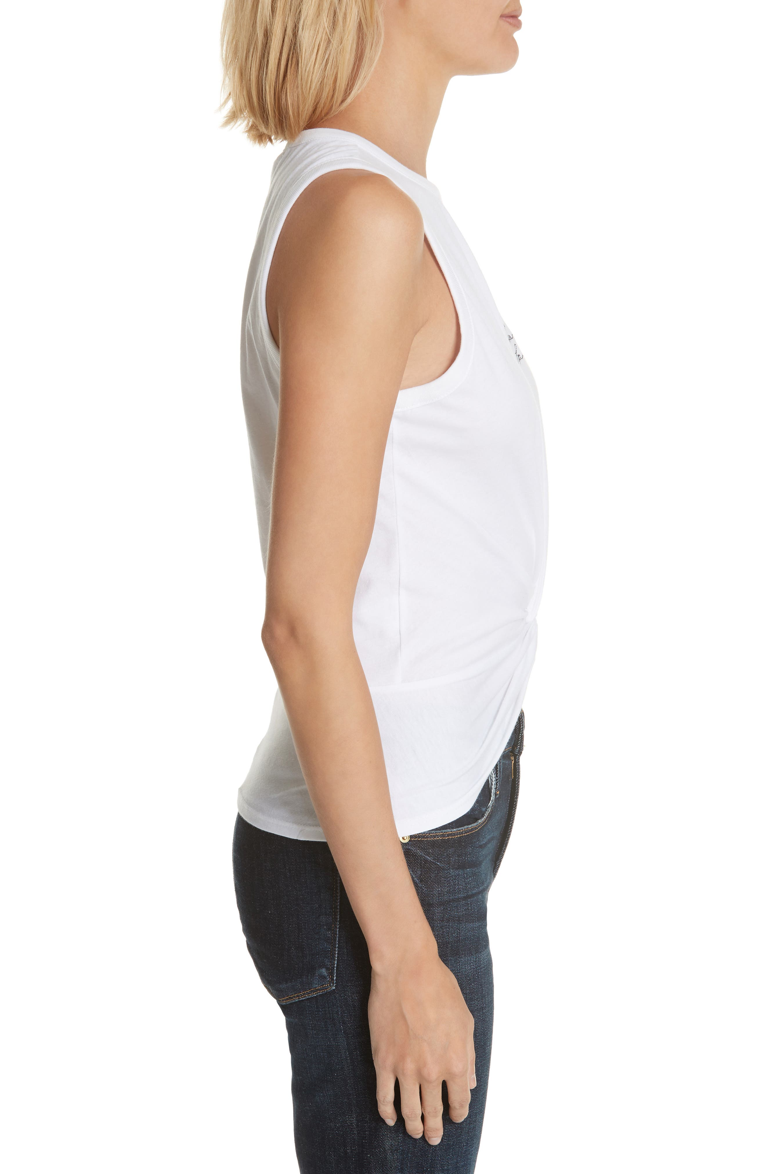 Knot Front Embroidered Tank,                             Alternate thumbnail 3, color,                             White