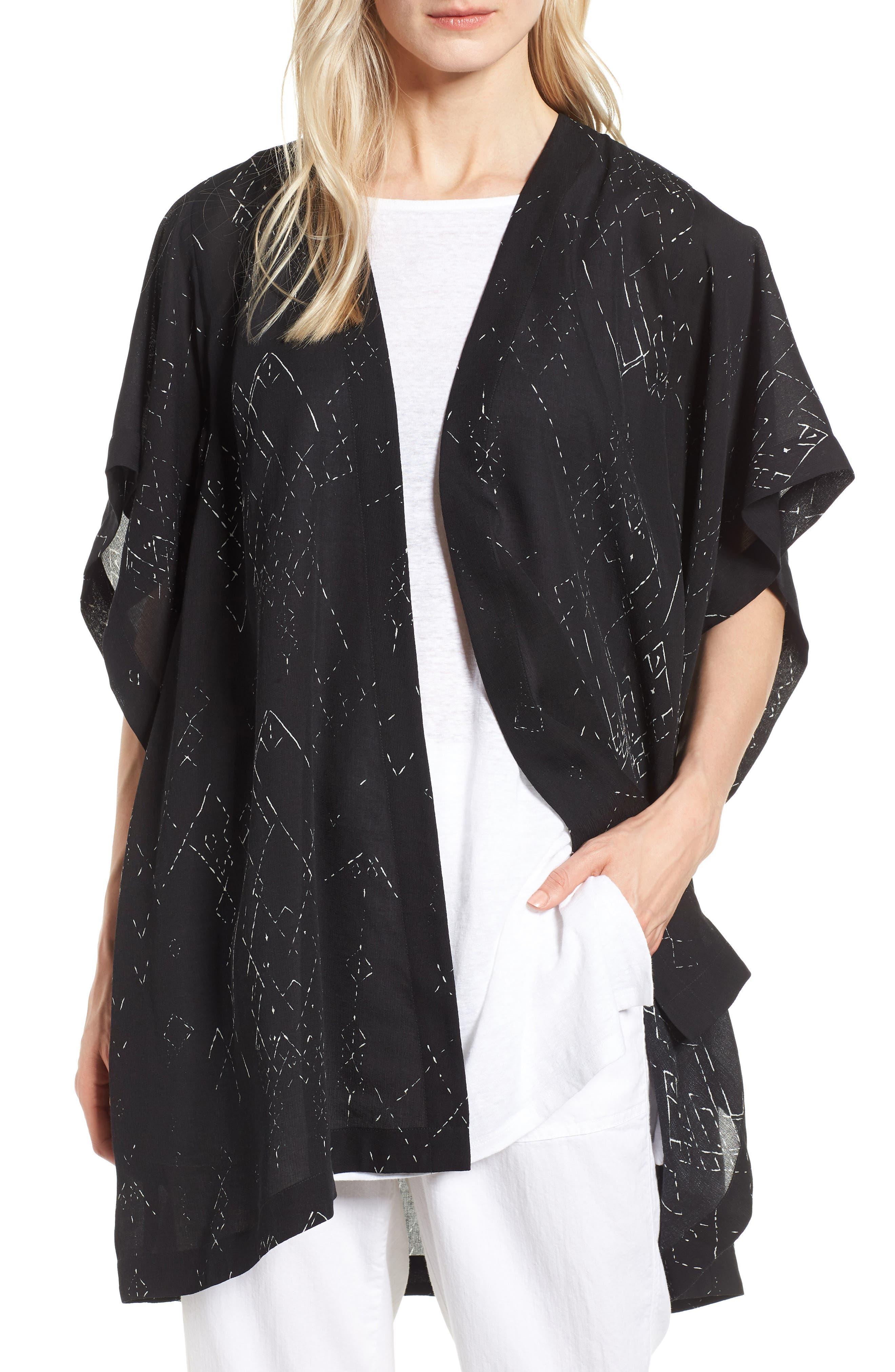 Long Silk Blend Kimono Jacket,                             Main thumbnail 1, color,                             Black