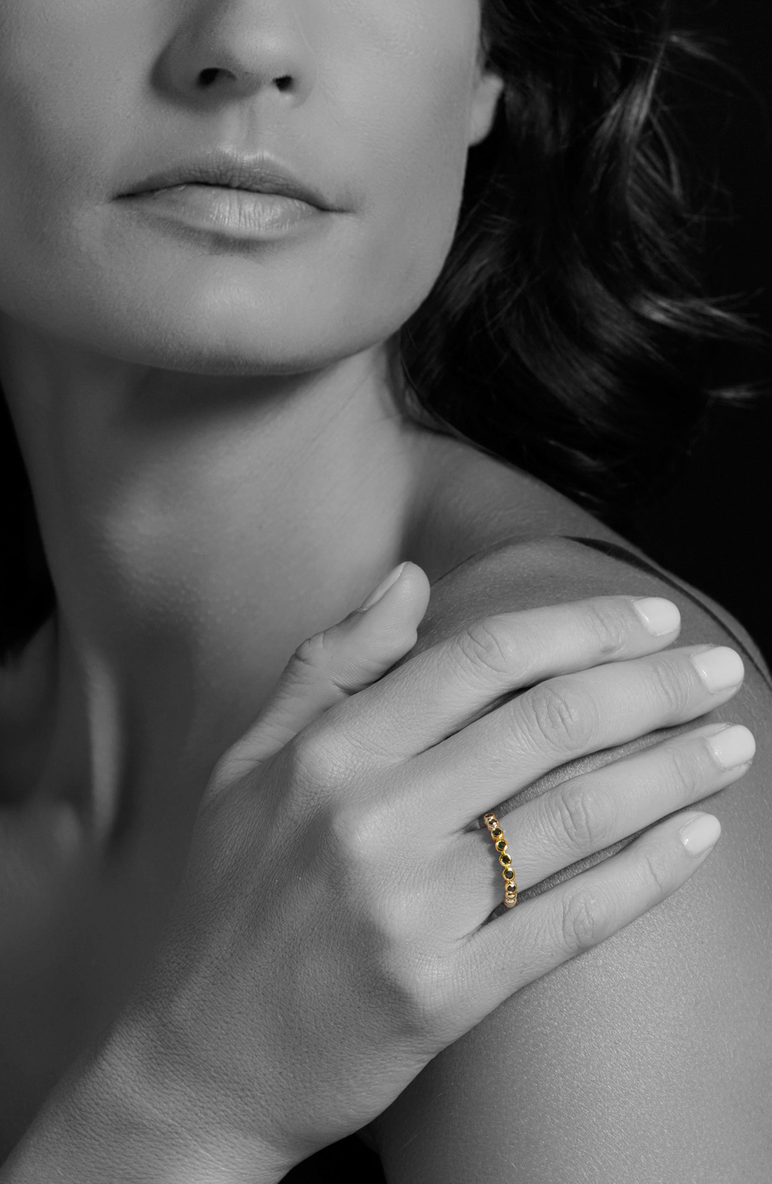 Black Diamond Caviar Stacking Ring,                             Alternate thumbnail 2, color,                             Gold