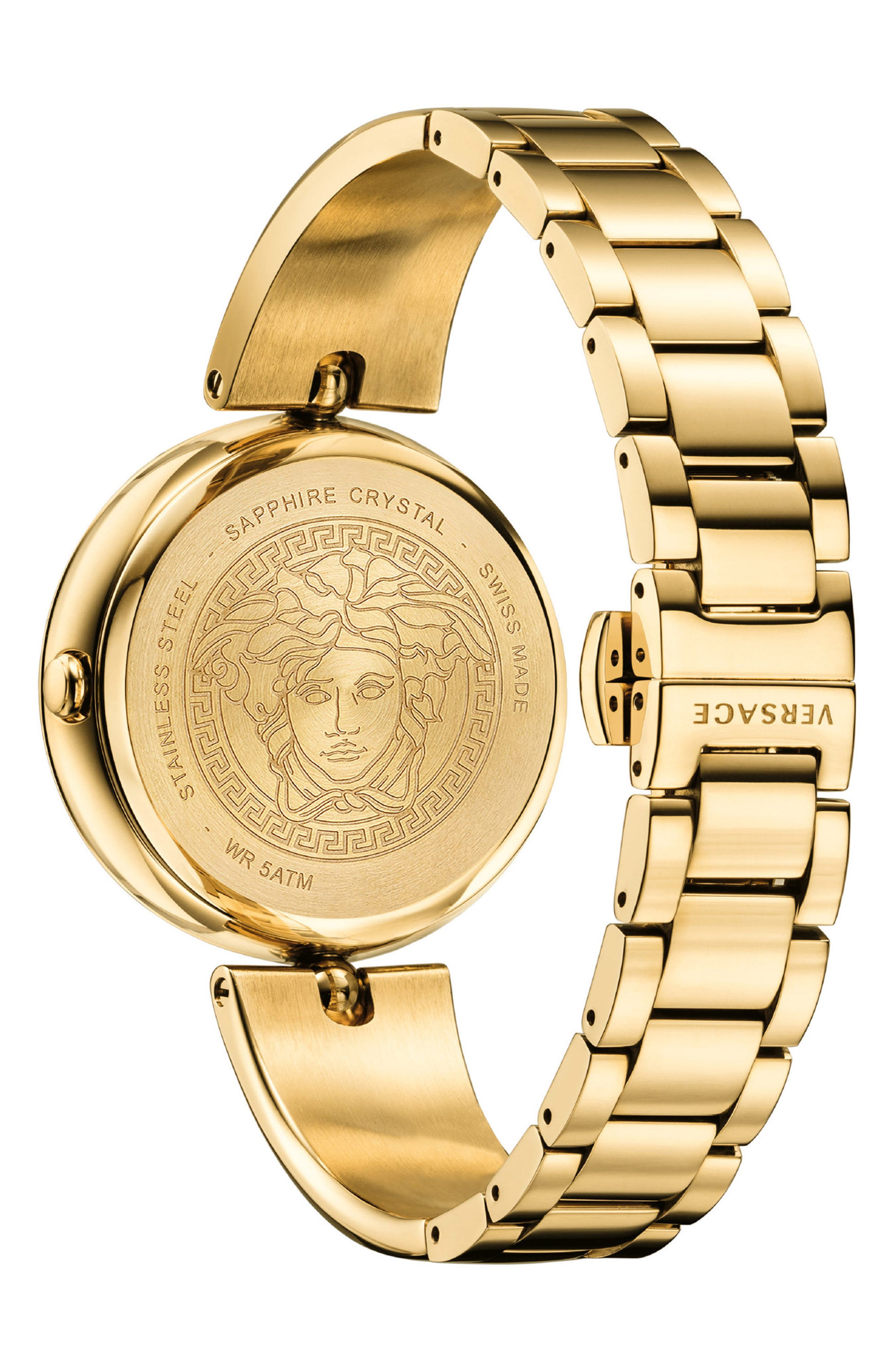 Palazzo Empire Semi Bangle Bracelet Watch, 39mm,                             Alternate thumbnail 3, color,                             Gold/ Black/ Gold