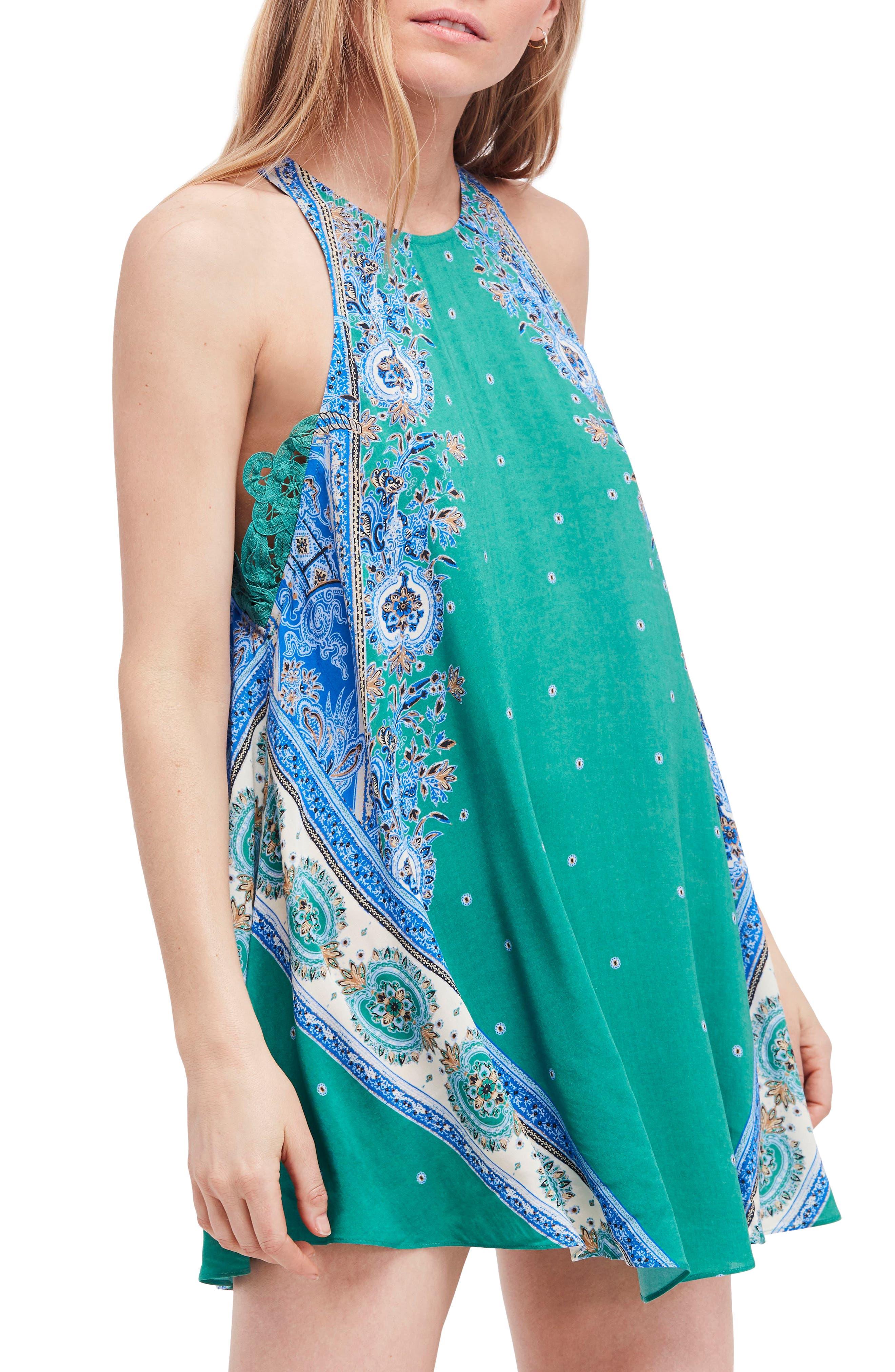 Darjeeling Print Minidress,                             Main thumbnail 1, color,                             Green