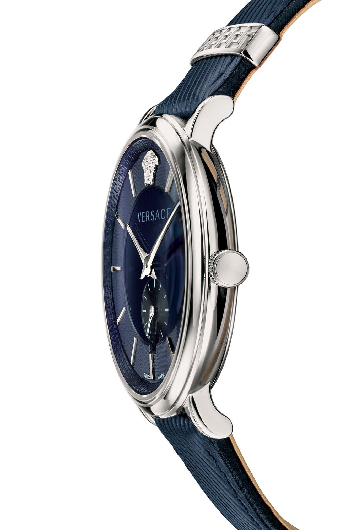 Manifesto Leather Strap Watch, 42mm,                             Alternate thumbnail 3, color,                             Blue/ Silver
