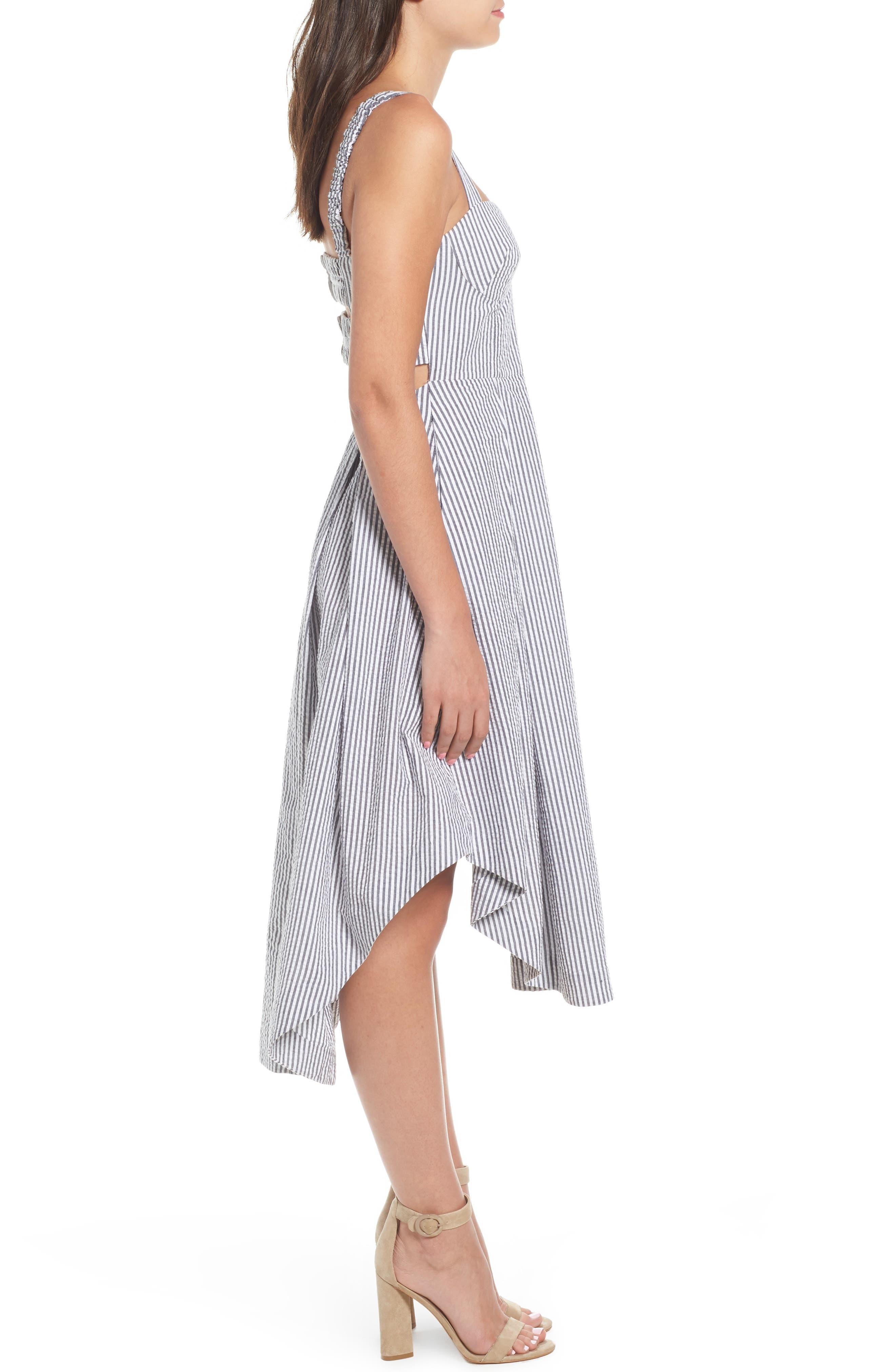Seersucker Bustier Midi Dress,                             Alternate thumbnail 3, color,                             Black/ White Multi