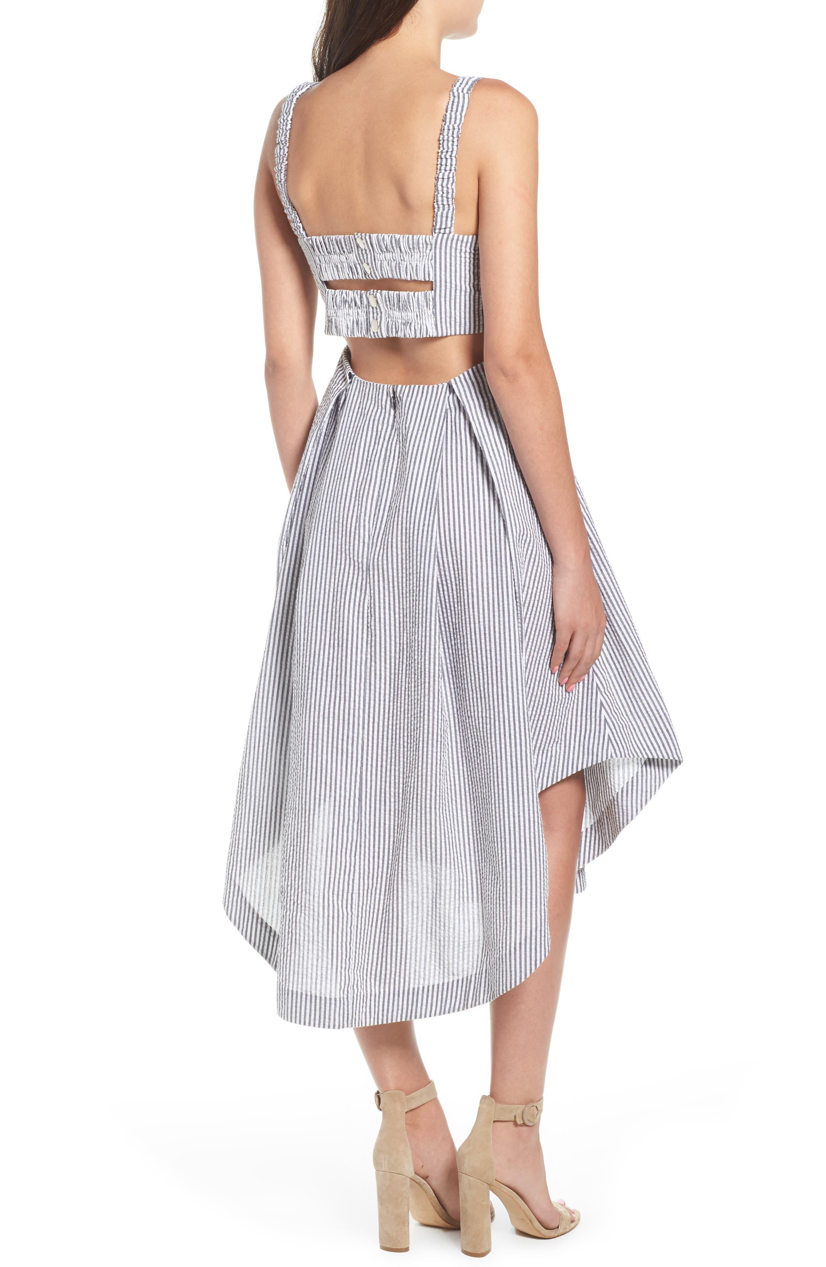 Seersucker Bustier Midi Dress,                             Alternate thumbnail 2, color,                             Black/ White Multi