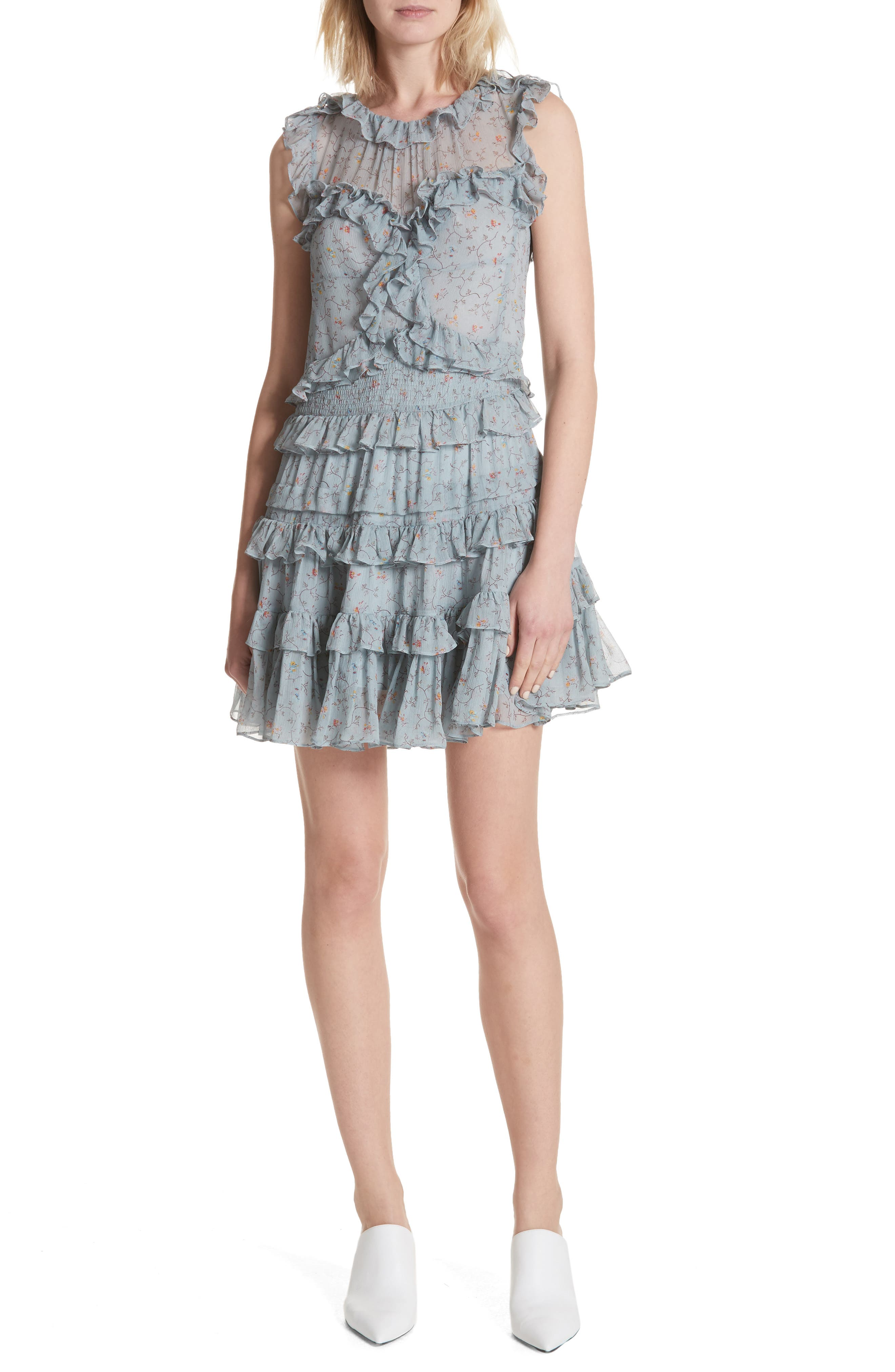 Floral Vine Ruffle Silk Dress,                         Main,                         color, Mint