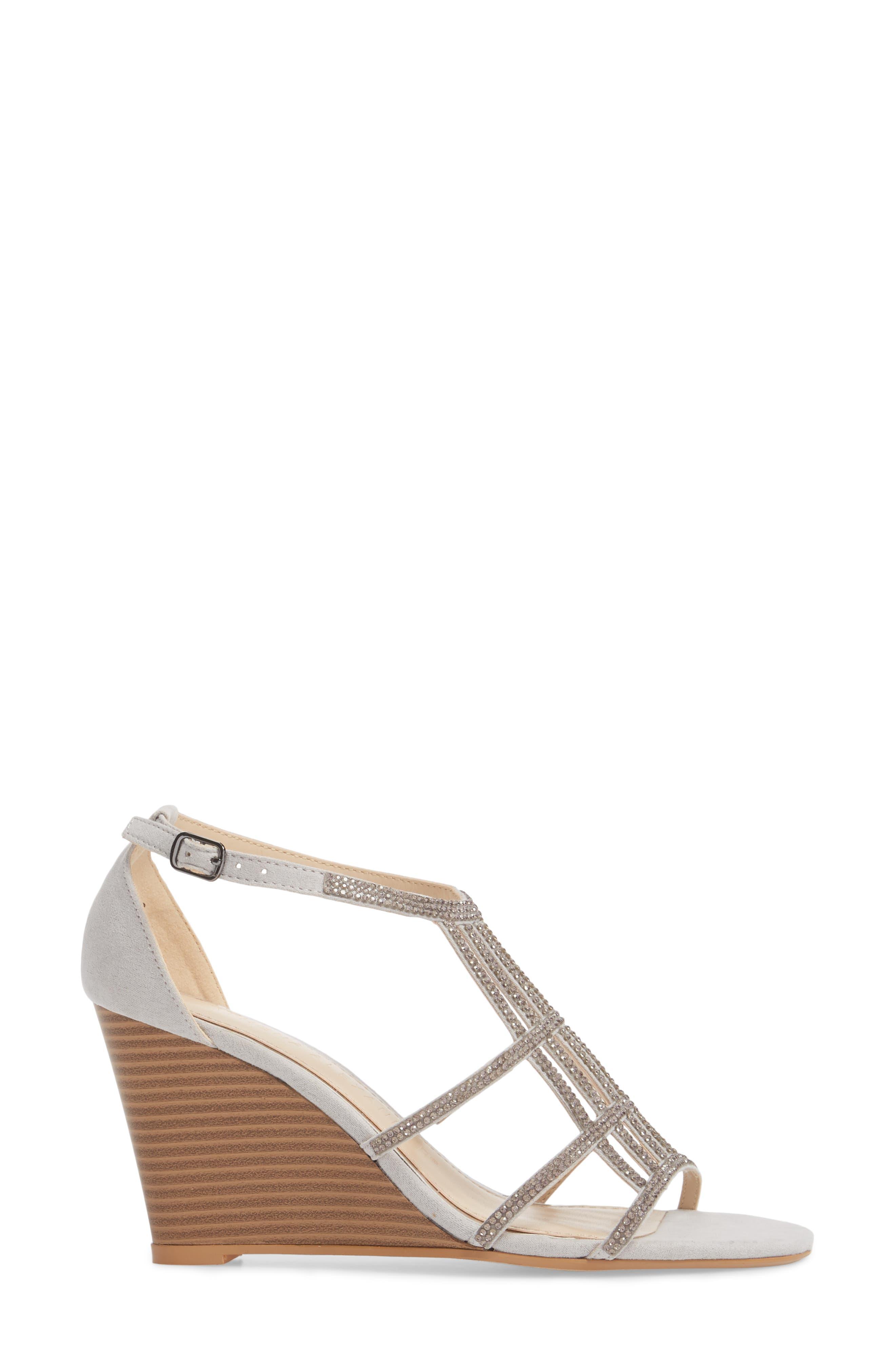 Hampton Crystal Embellished Wedge Sandal,                             Alternate thumbnail 3, color,                             Grey Suede