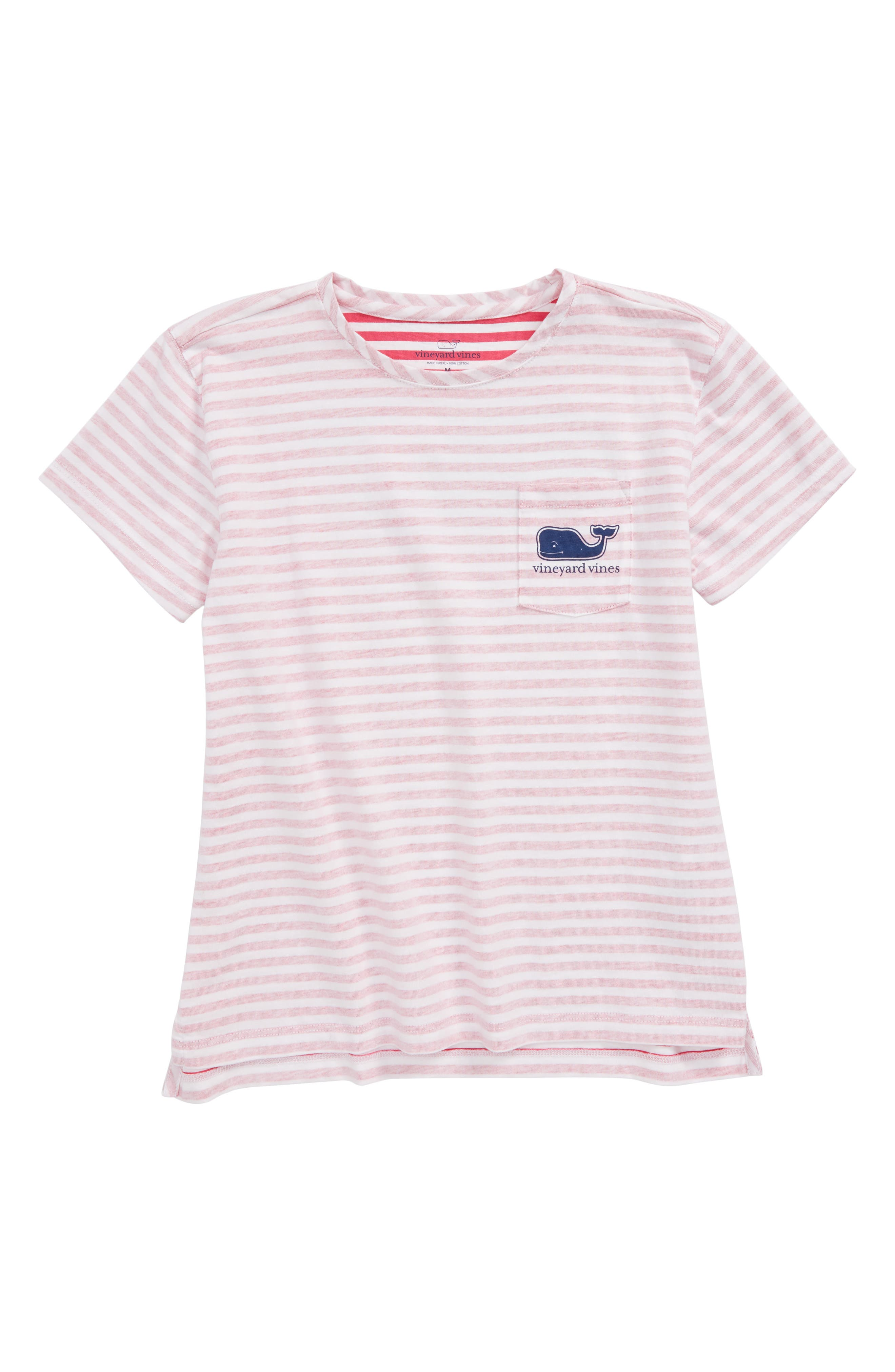 Stripe Whale Pocket Tee,                             Main thumbnail 1, color,                             Rhododendron