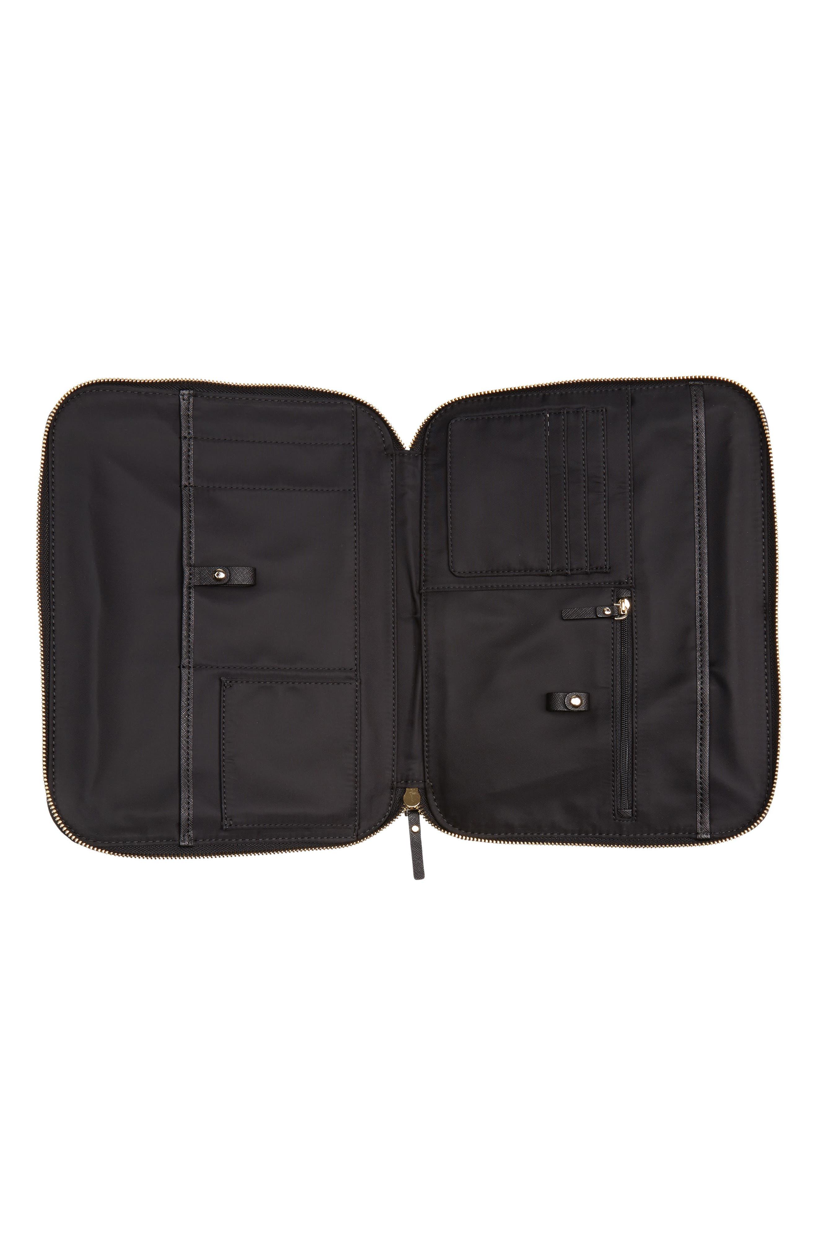 saffiano leather organization tablet sleeve,                             Alternate thumbnail 2, color,                             Black
