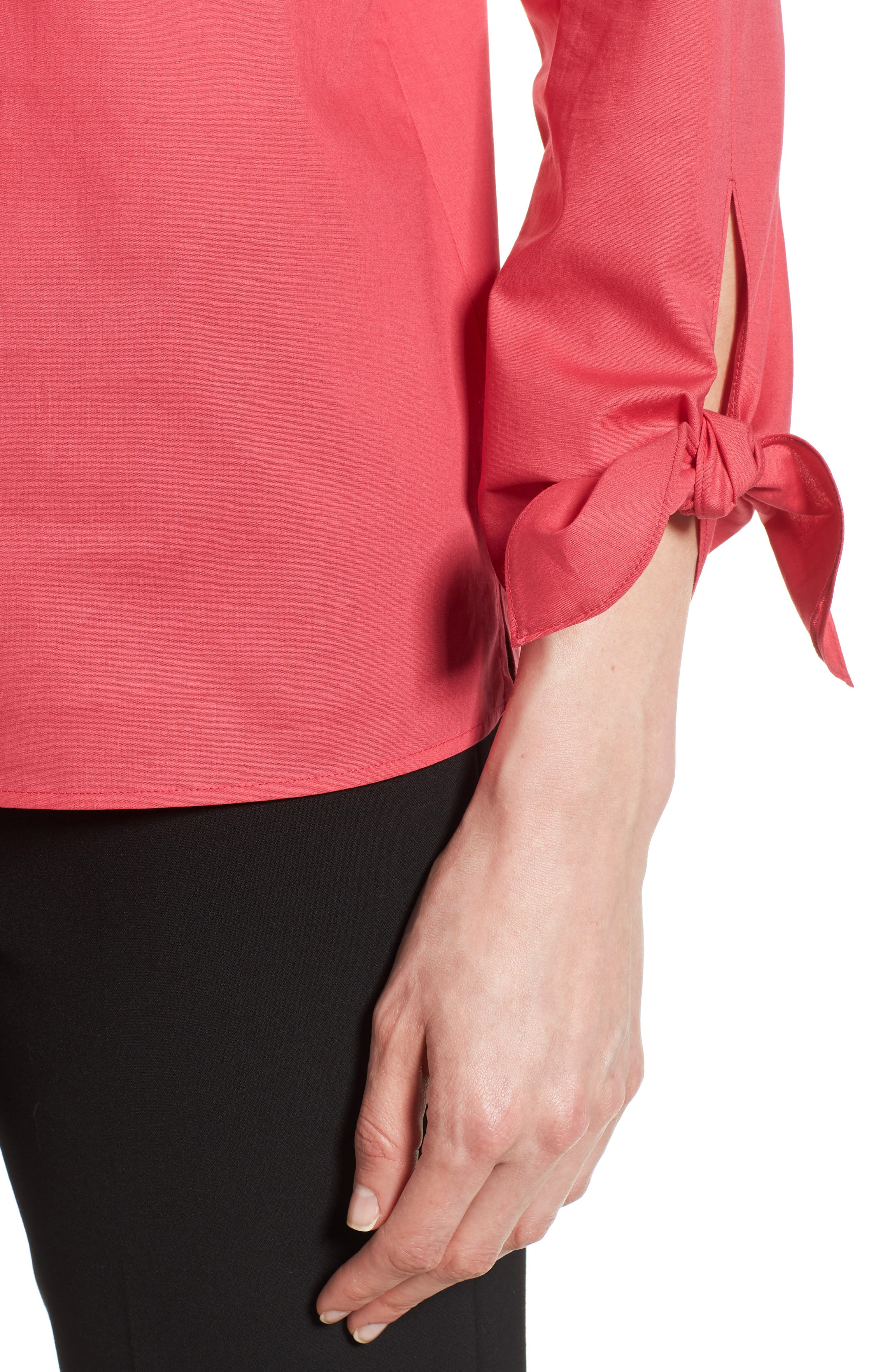 Isolema Stretch Cotton Bow Sleeve Top,                             Alternate thumbnail 4, color,                             Lychee Pink