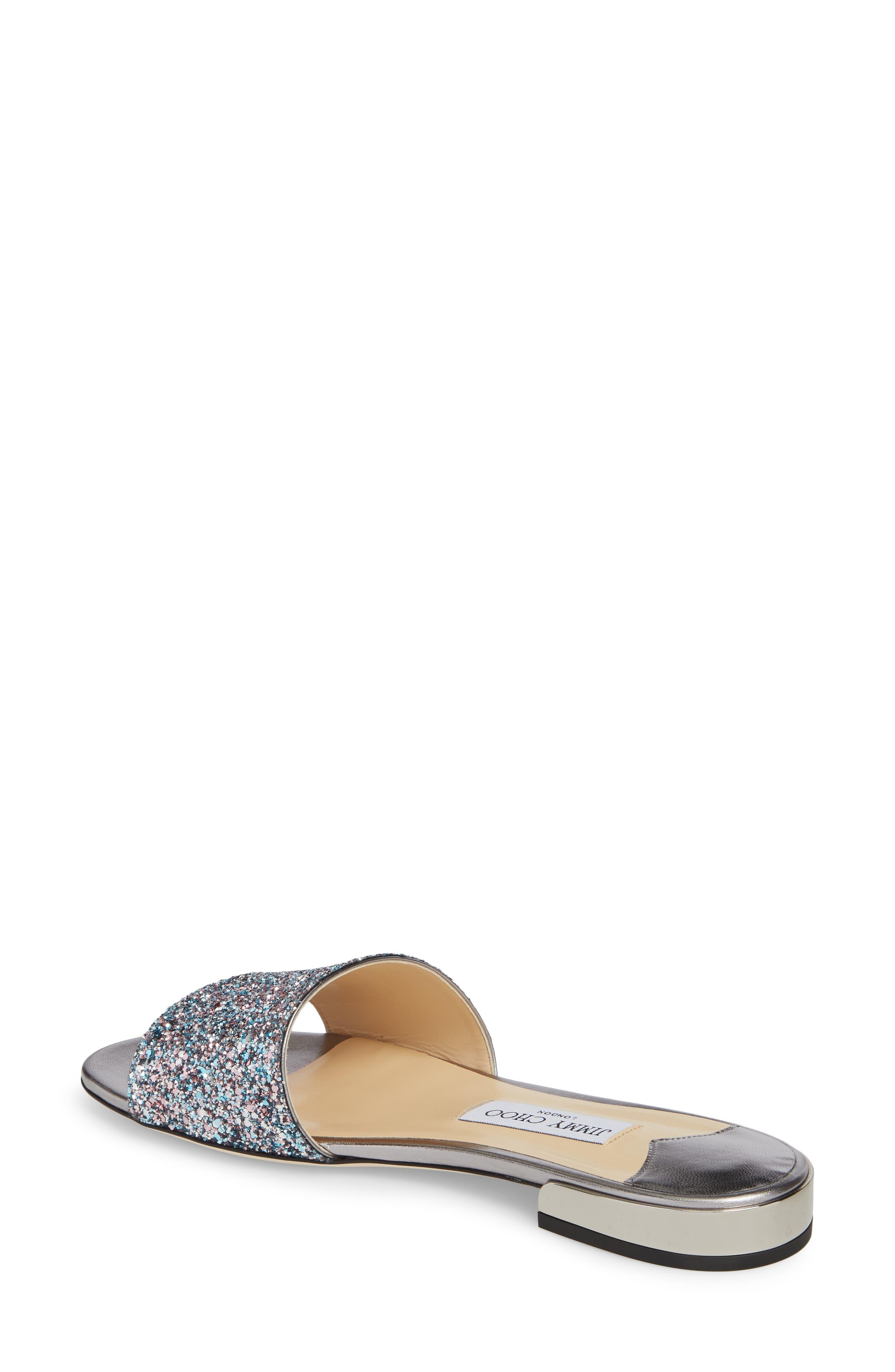 JIMMY CHOO Joni Flat Navy Metallic Tweed Slides, Blush Silver