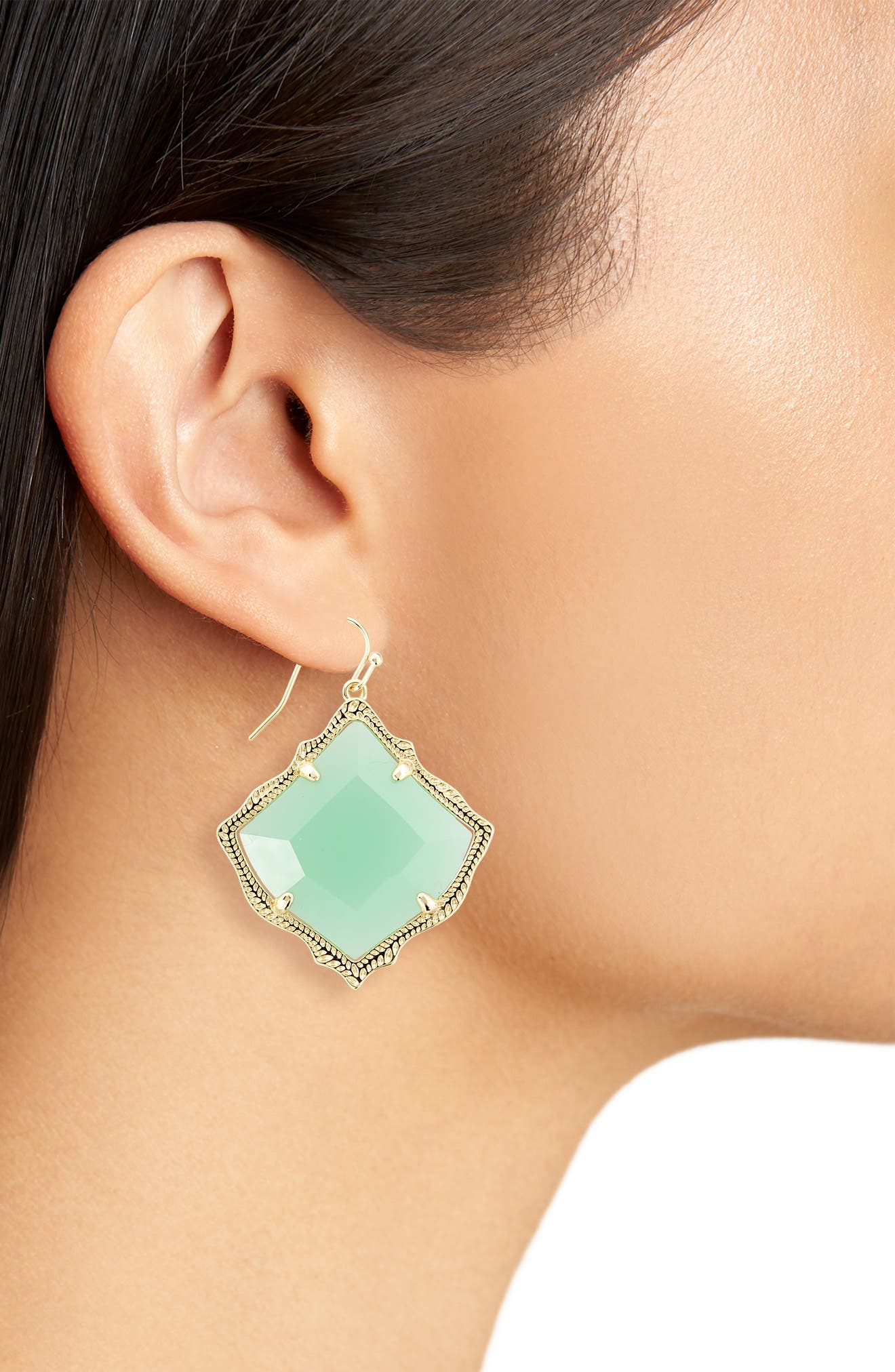 Kirsten Drop Earrings,                             Alternate thumbnail 2, color,                             Chalcedony/ Gold