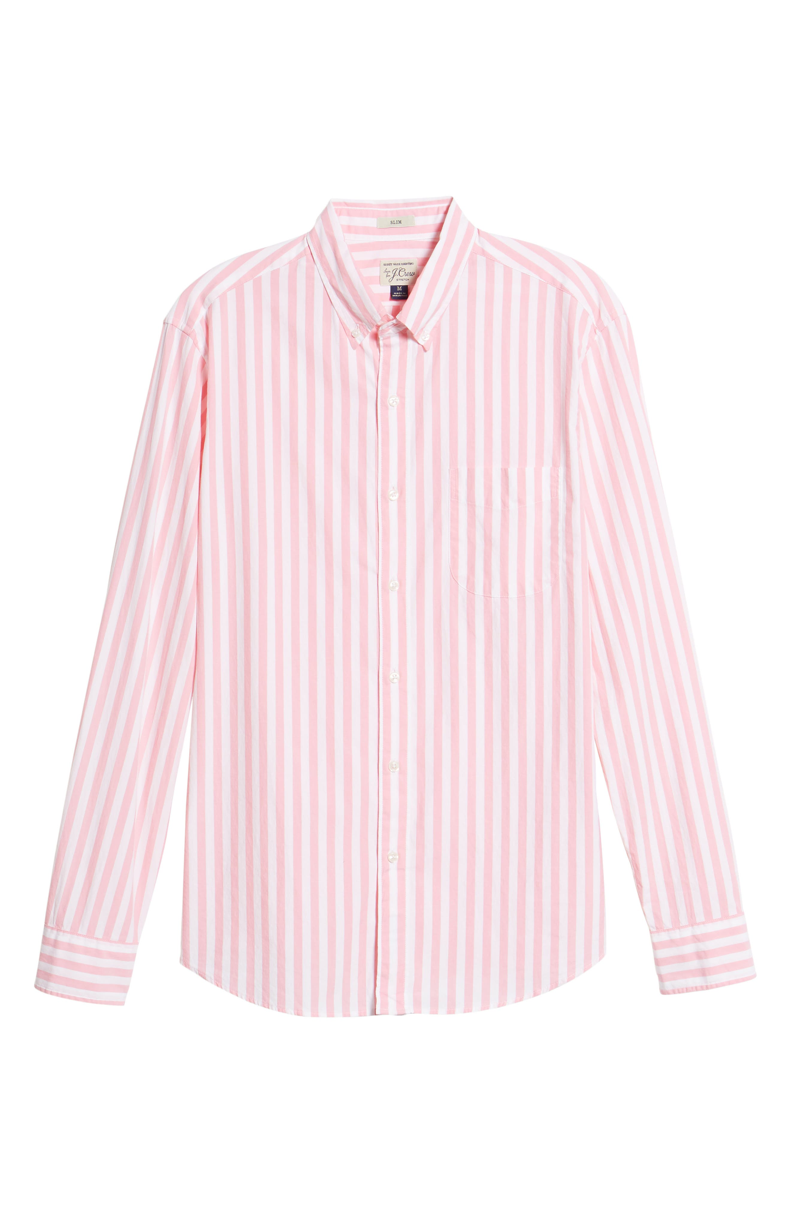 Slim Fit Stretch Secret Wash Stripe Sport Shirt,                             Alternate thumbnail 6, color,                             Azalea