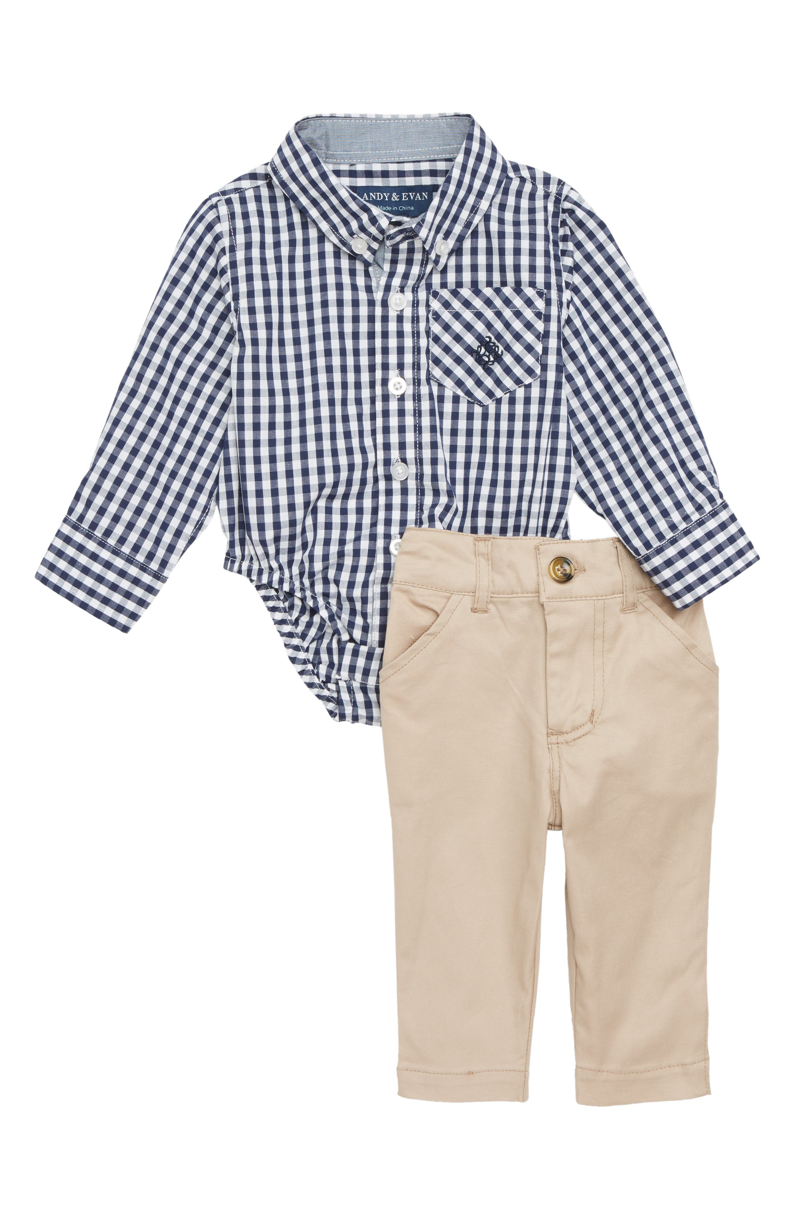 Main Image - Andy & Evan Shirtzie Gingham Check Bodysuit & Pants Set (Baby Boys)