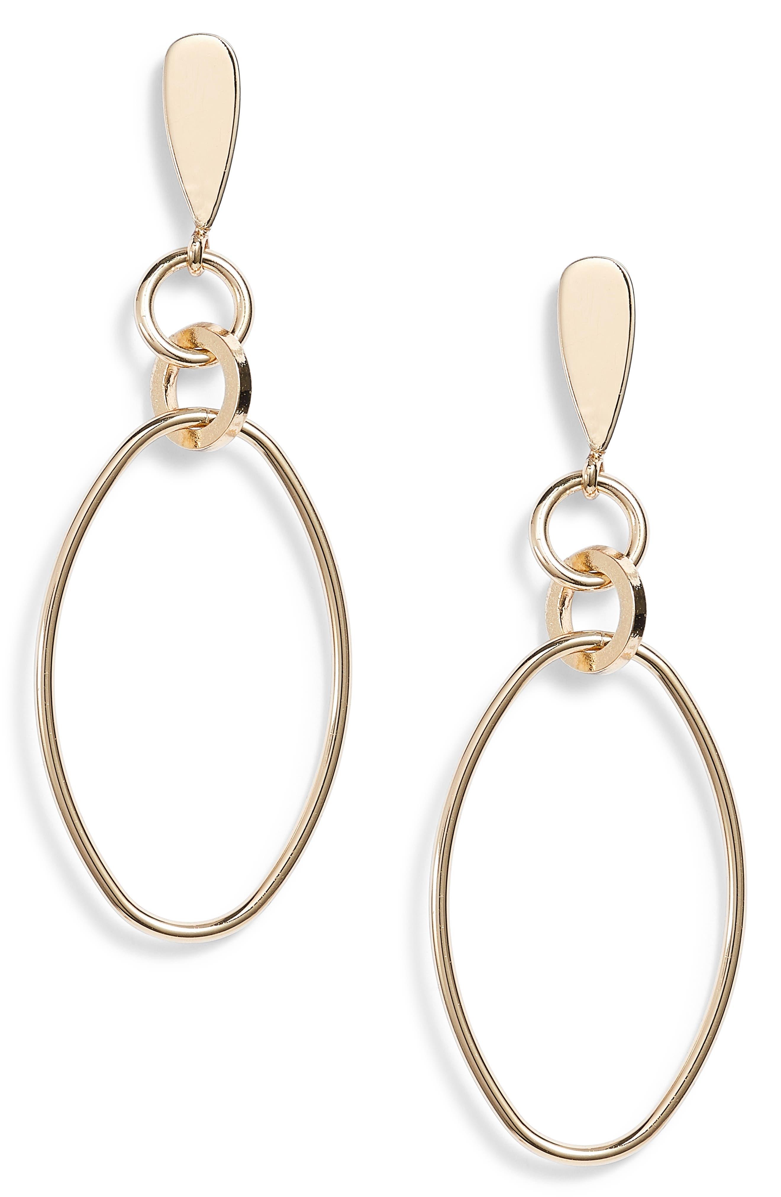Oval Orbit Front Hoop Earrings,                             Main thumbnail 1, color,                             Gold