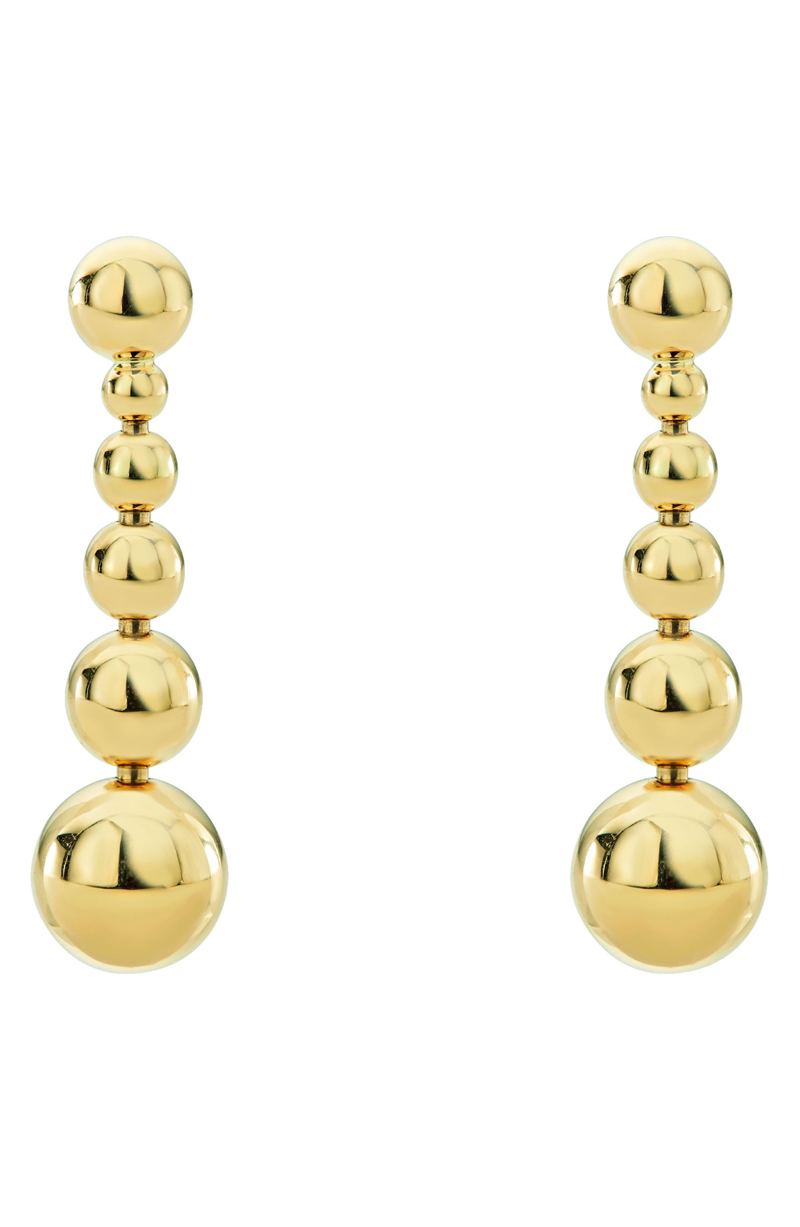 Caviar Ball Drop Dangle Earrings,                             Alternate thumbnail 3, color,                             Gold