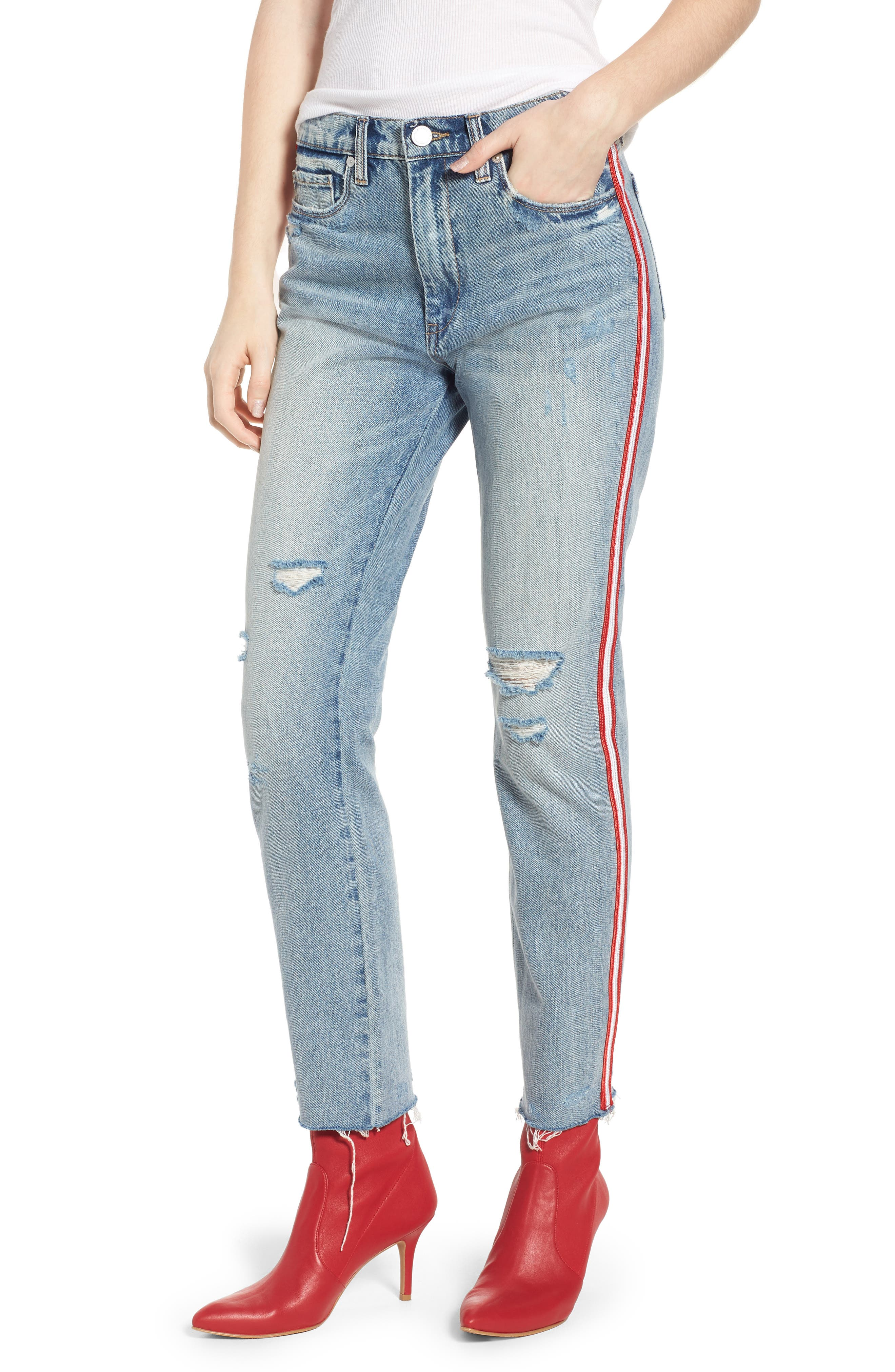 Now or Never Side Stripe Skinny Jeans,                             Main thumbnail 1, color,                             Blue