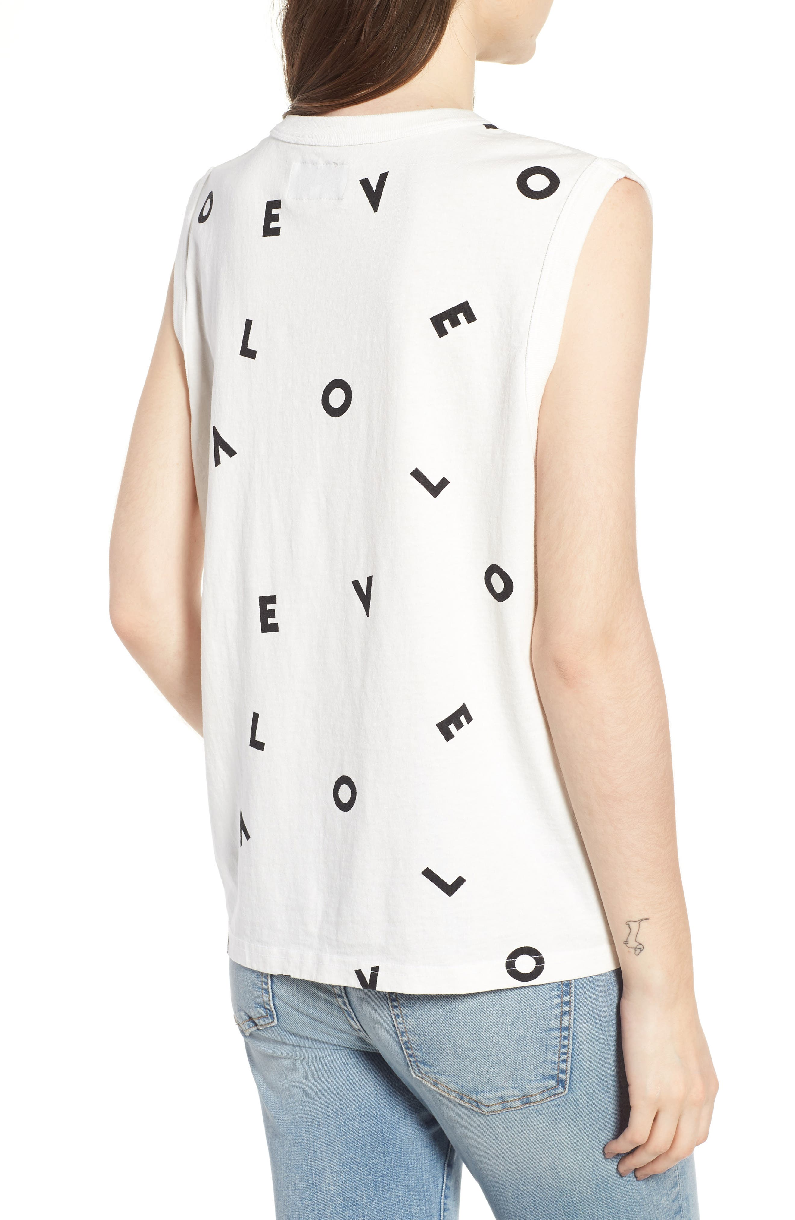 The Muscle Tee Love Tank,                             Alternate thumbnail 2, color,                             Love Letters Destroy White